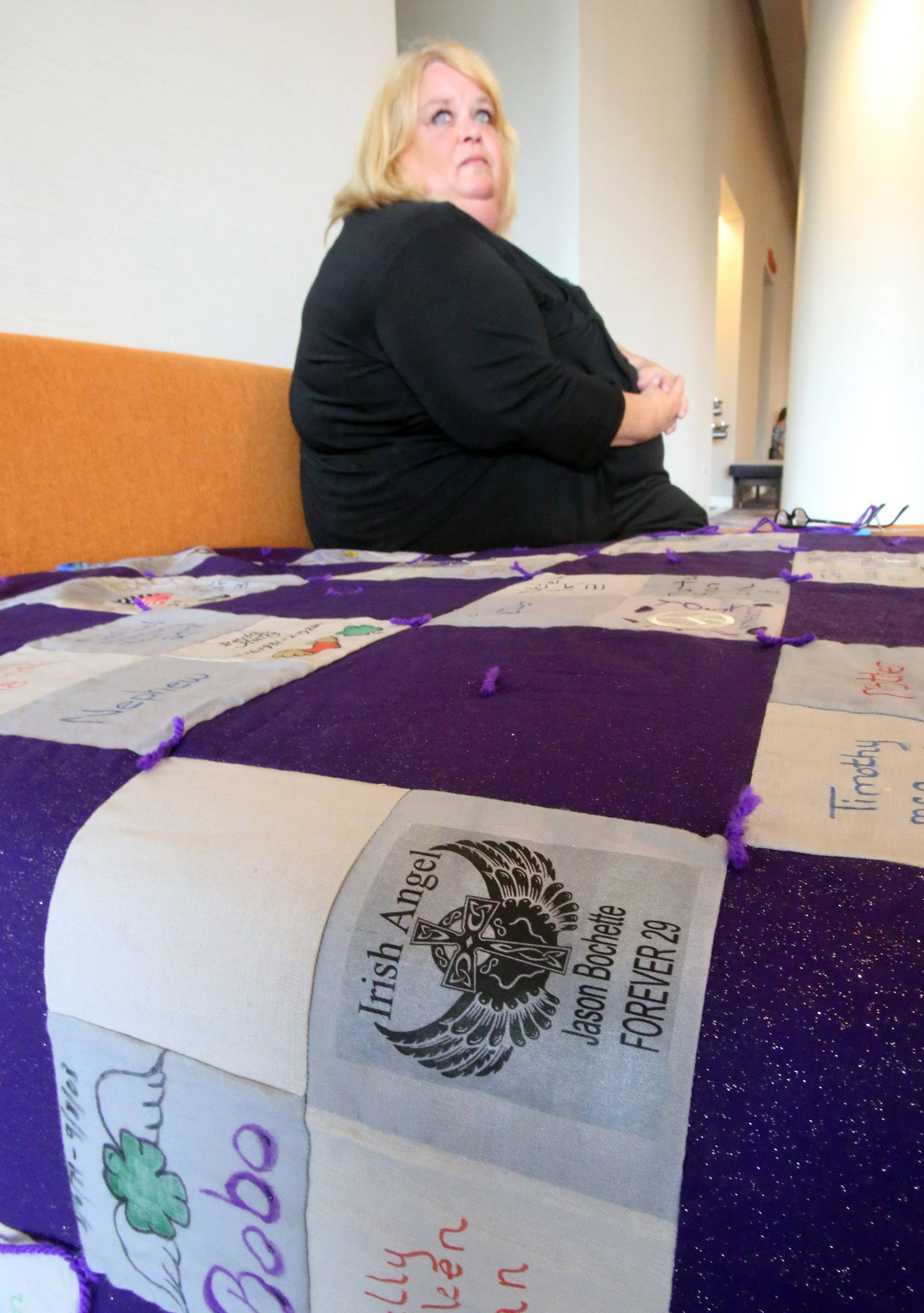 Terri Dudar of Carpentersville is a founder of a group raising money Saturday to provide heroin addicts and their loved ones with the drug naloxone, which can prevent overdose deaths. Last year, she made a quilt memorializing suburban overdose victims, including her son.