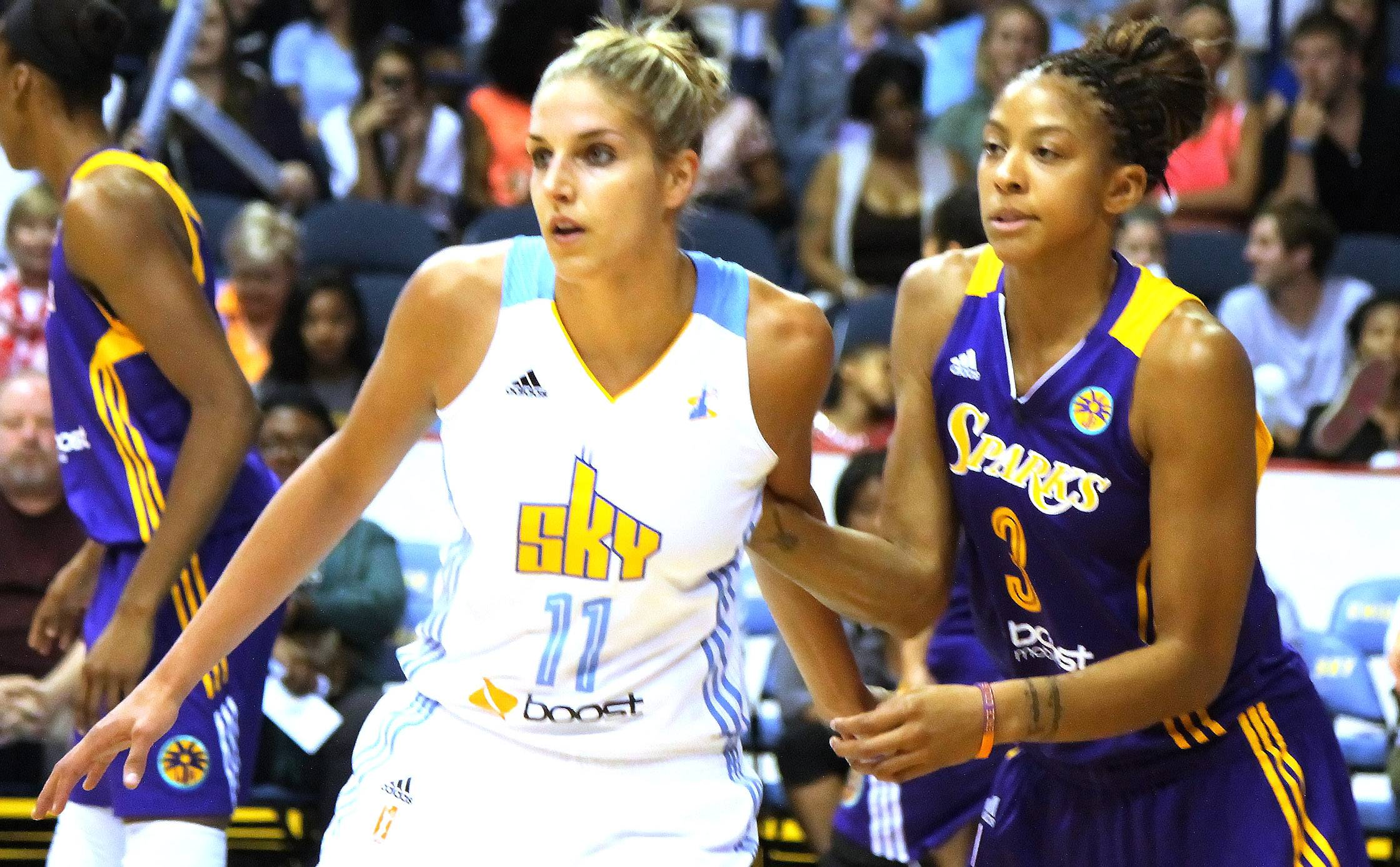 Two of Chicago's finest WNBA superstars, Candace Parker of the Los Angeles Sparks and Elena DelleDonne of the Chicago Sky battle each other during a game on Friday, June 6, at the Allstate Arena in Rosemont.