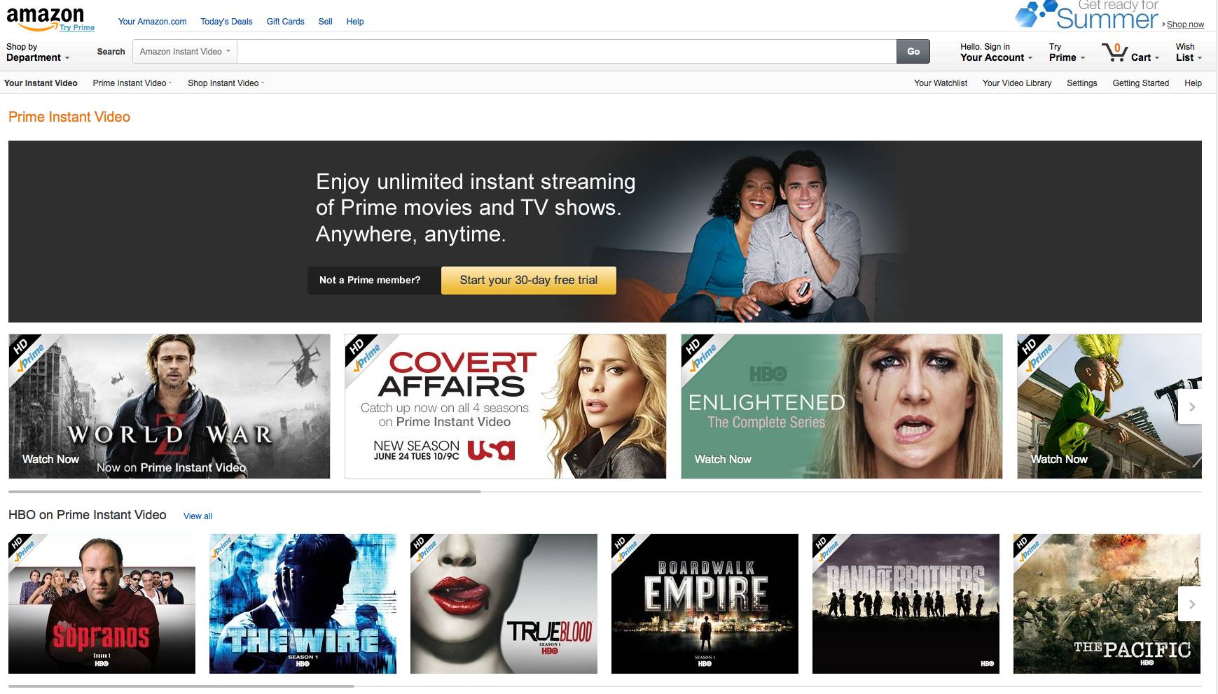This screen shot shows movies and television programs available for free to Amazon Prime members. Amazon changed the dynamics in 2011 when it started offering movies and TV shows to Prime members for free. Unlike Netflix, Amazon offers only part of its collection for free.