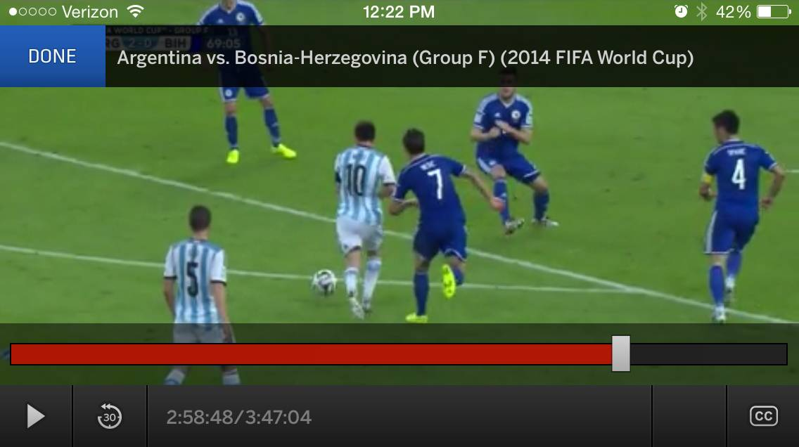 This screen shot taken from the Watch ESPN mobile app shows action during a group F World Cup soccer match between Argentina and Bosnia-Herzegovina at the Maracana Stadium in Rio de Janeiro, Brazil, Sunday, June 15, 2014.
