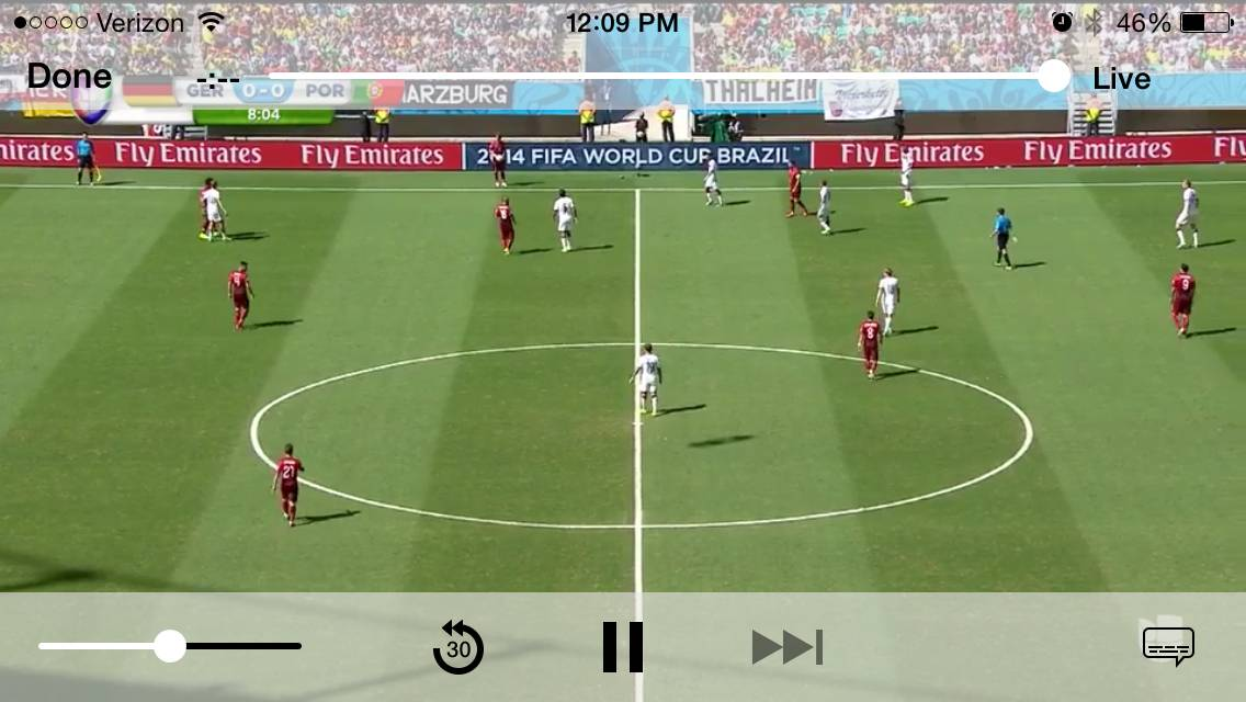 This screen shot taken from Univision Deportes' mobile app shows action during the group G World Cup soccer match between Germany and Portugal at the Arena Fonte Nova in Salvador, Brazil, Monday, June 16, 2014.