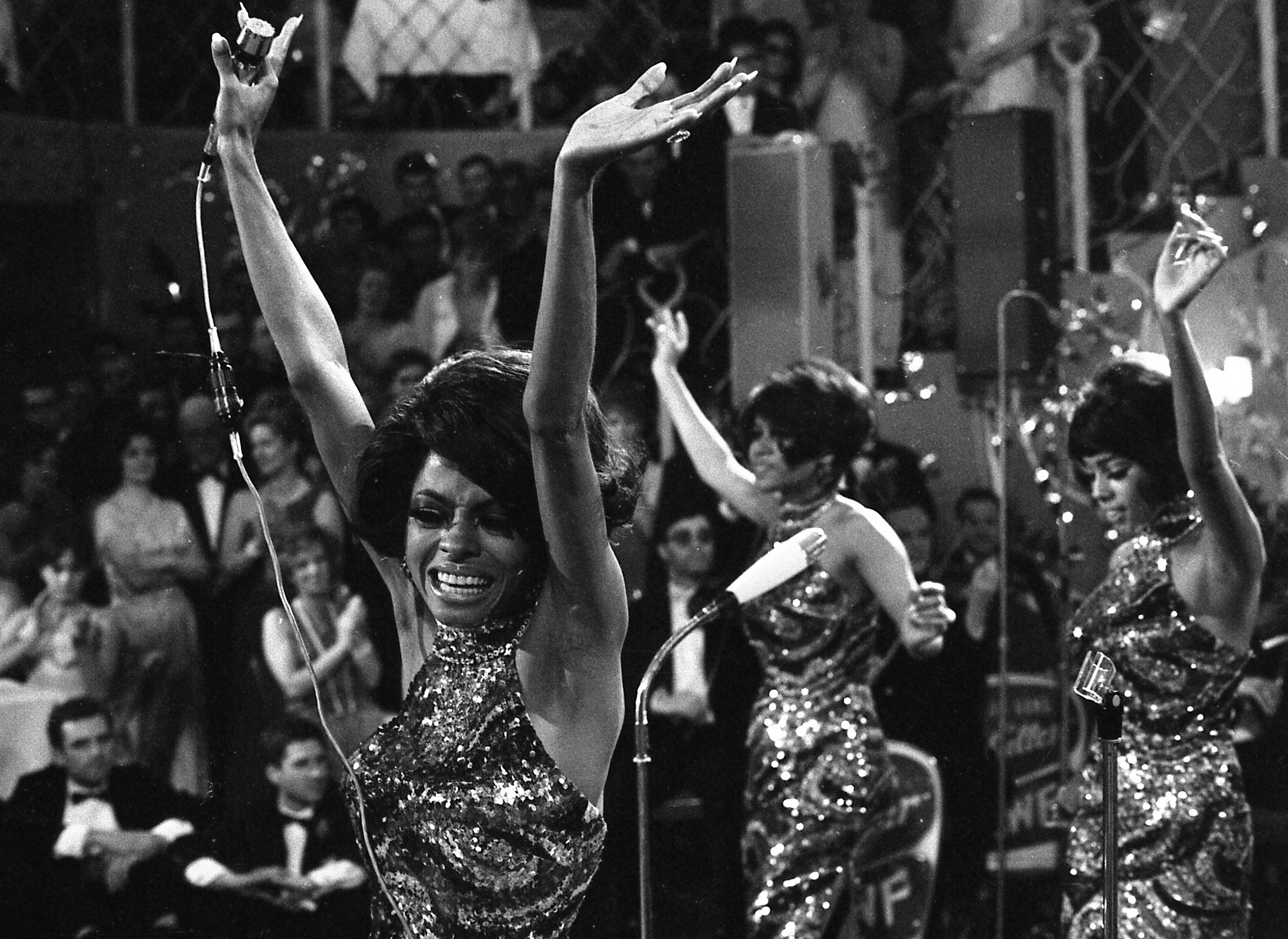 "The Supremes -- with Diana Ross, front, Cindy Birdsong and Mary Wilson -- dance as they perform at the annual ""Bal pare"" party in Munich, West Germany, in 1968."