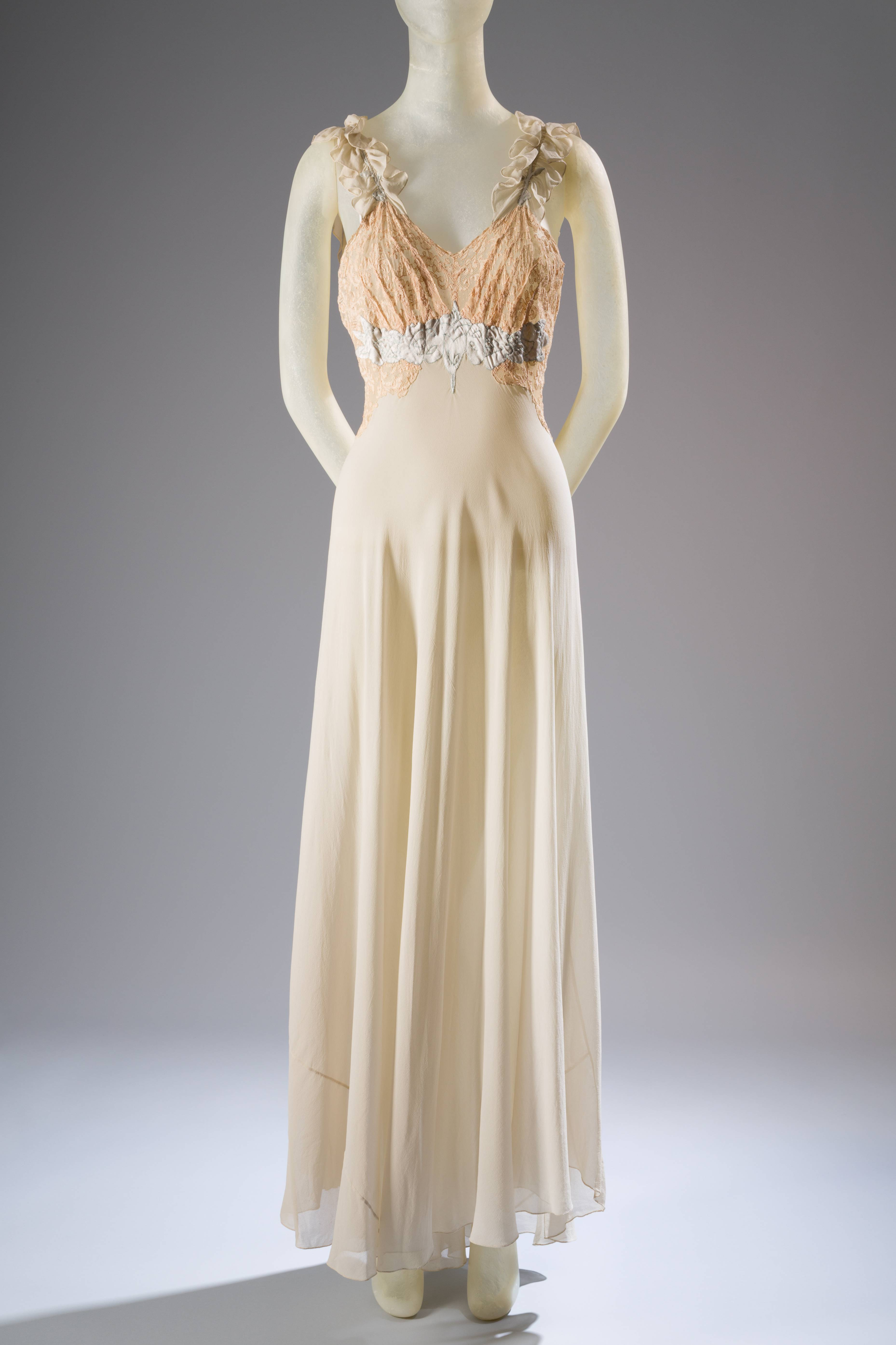 "A 1930s nightgown in silk georgette with lace and satin is included in an axhibit at the Museum at the Fashion Institute of Technology. In about 70 pieces, ""Exposed: A History of Lingerie"" touches on the mechanics, marketing and cultural touchstones that not only shape and adorn but helped define culture around the globe."