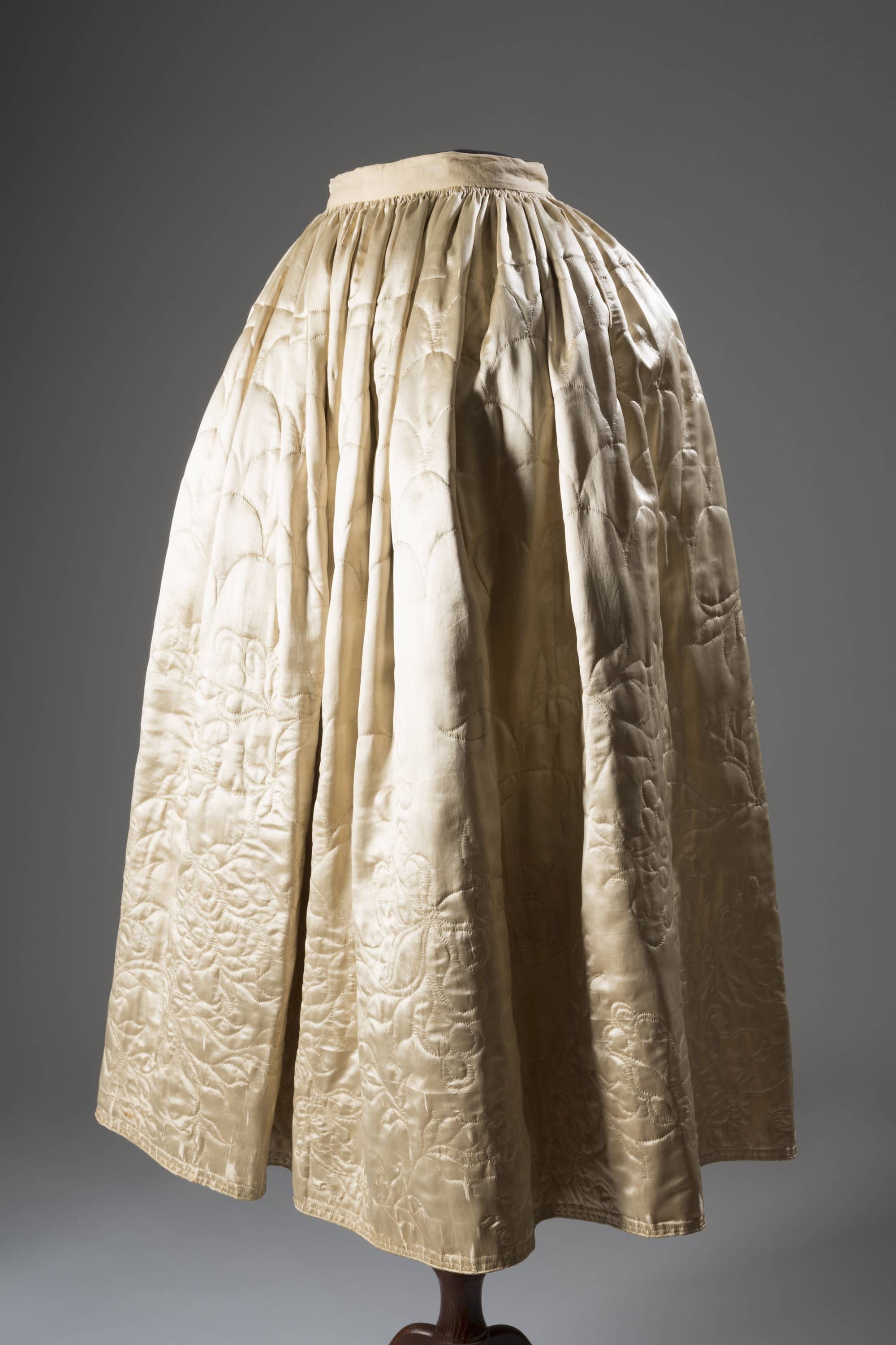 "This image released by The Museum at FIT shows a 1765 English quilted petticoat in silk and satin.  From a 1770 corset to a 2014 bra-and-panty set in lacy stretch silk, the Museum at the Fashion Institute of Technology has taken on lingerie and ladies foundation garments as the focus of a new exhibition. In about 70 pieces, ""Exposed: A History of Lingerie"" touches on the mechanics, marketing and cultural touchstones that not only shape and adorn but helped define culture around the globe. The exhibition runs through Nov. 15."
