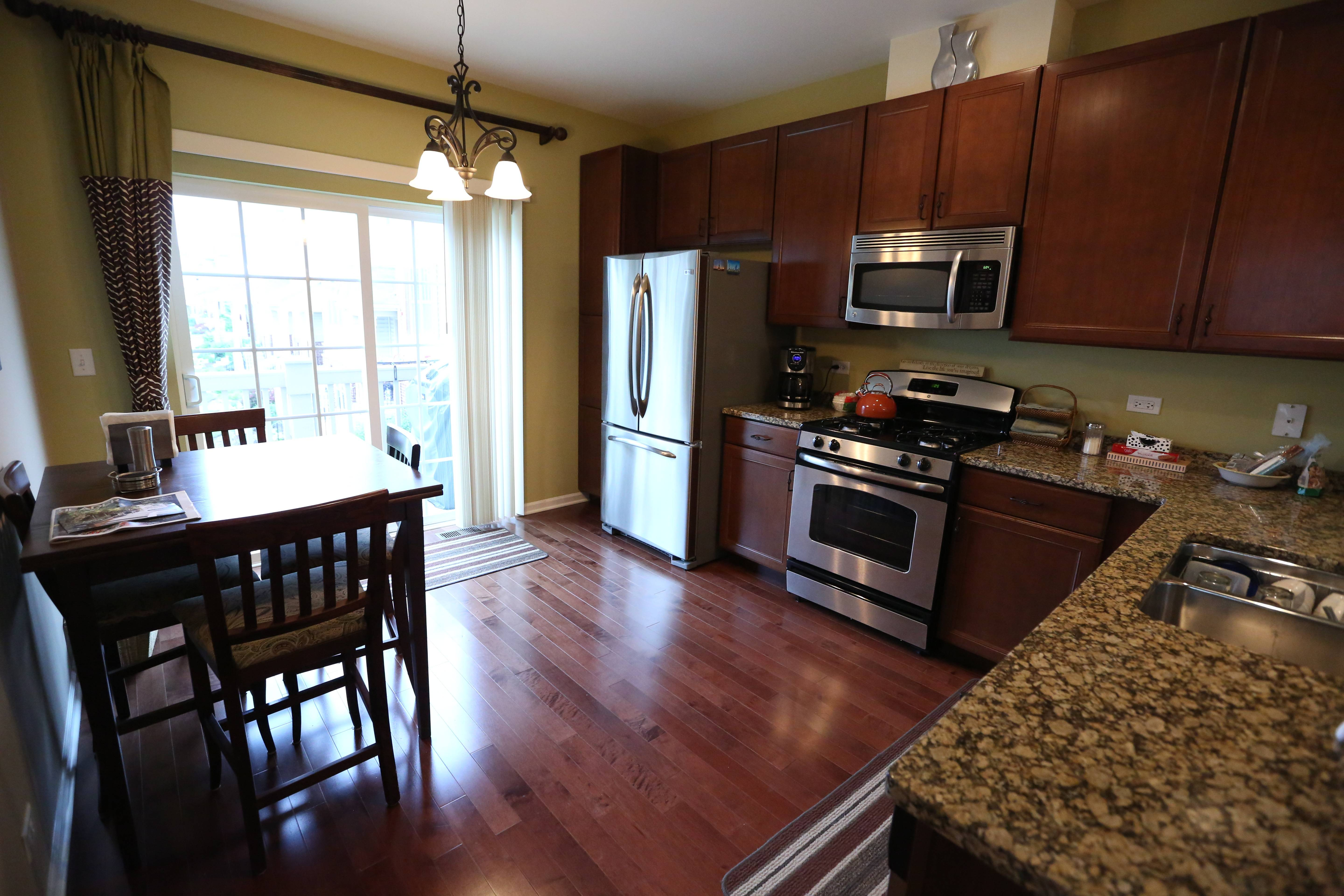 The kitchen in a move-in ready townhouse that Bill McPartlin purchased in Des Plaines from Lexington Homes.