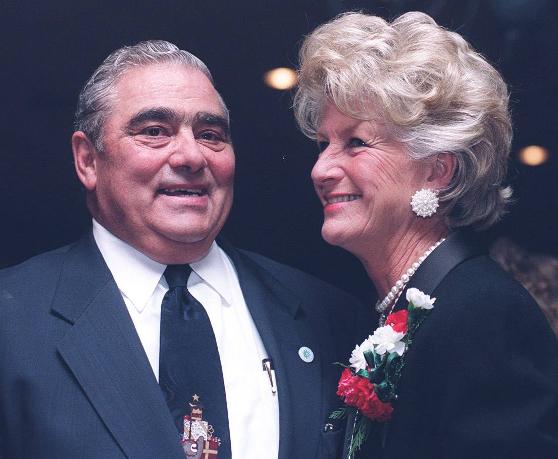 "Former Lake County Board Chairman Robert Depke and his wife, GeorgeAnne, smile as they look over a room of friends who gathered to ""roast"" the end of his long political career at an event in Waukegan Dec. 4, 1997."