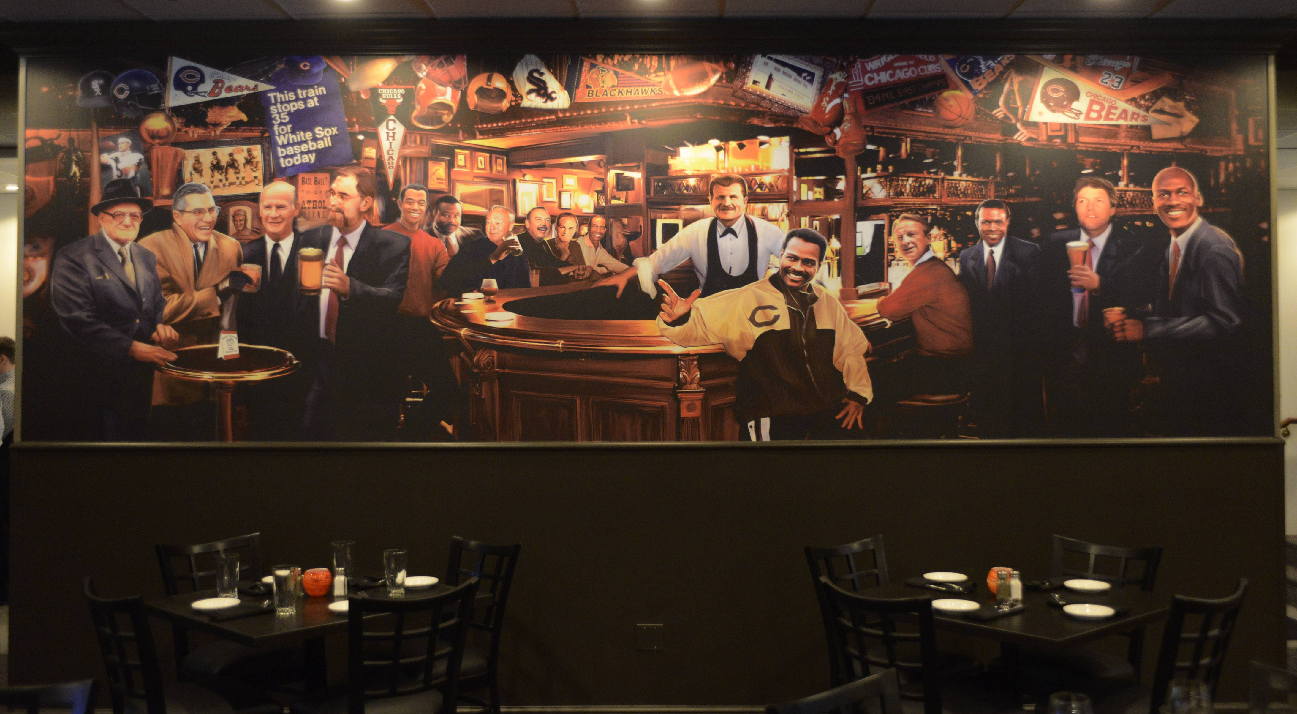 The dining room mural inside Ditka's.