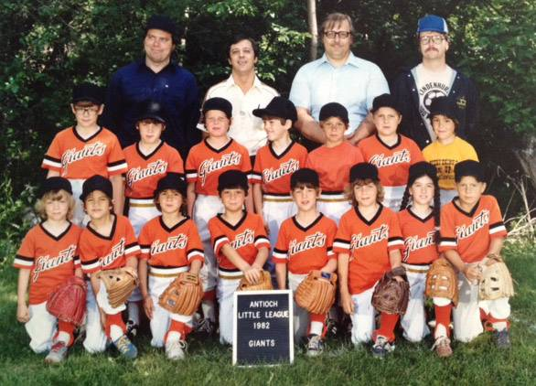 A 1982 photo of a team in the Antioch Little League.