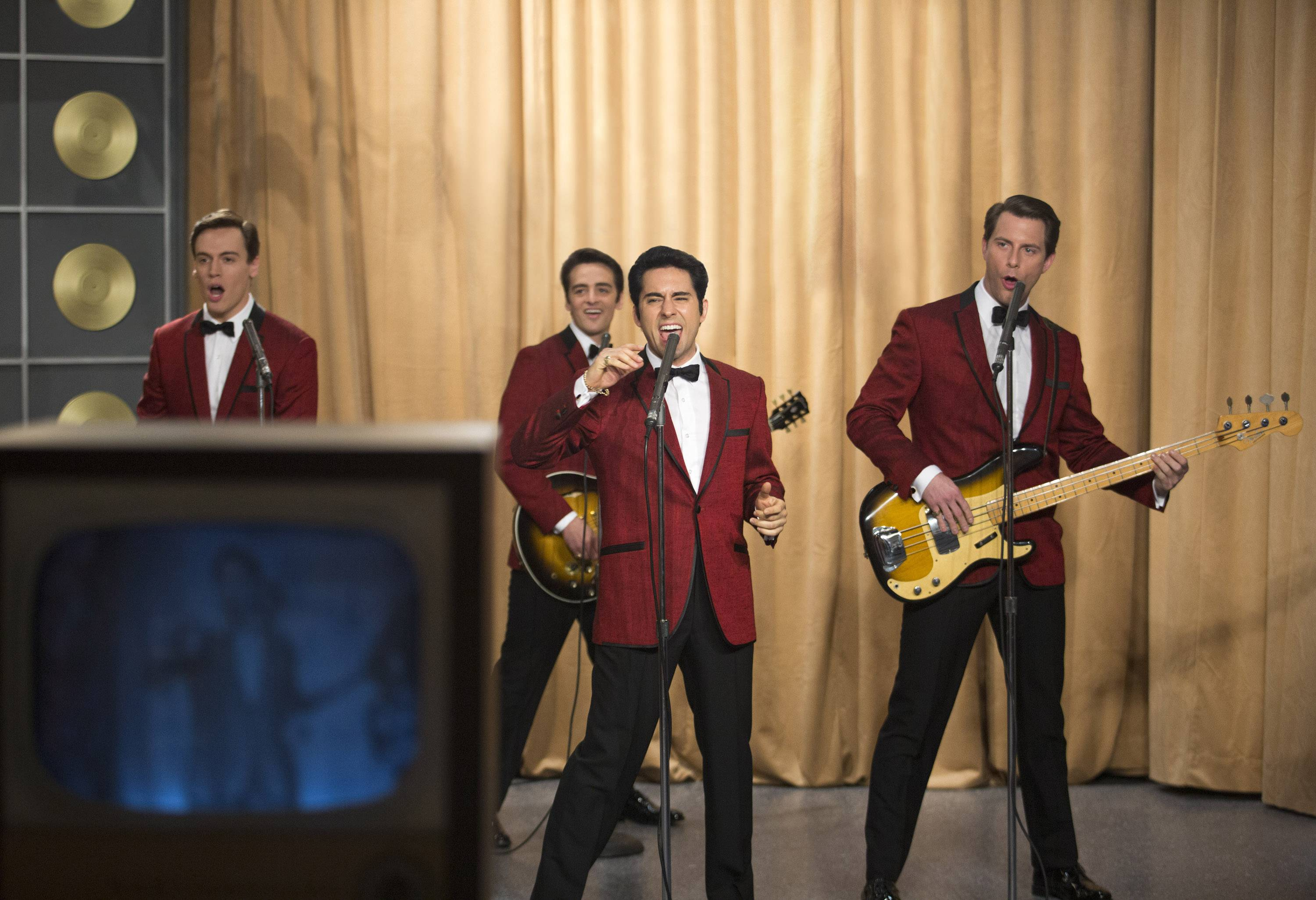 "From left, Erich Bergen as Bob Gaudio, Vincent Piazza as Tommy DeVito, John Lloyd Young as Frankie Valli and Michael Lomenda as Nick Massi in Warner Bros. Pictures' musical ""Jersey Boys,"" a Warner Bros. Pictures release, which came in at No. 4 in its first weekend of release."