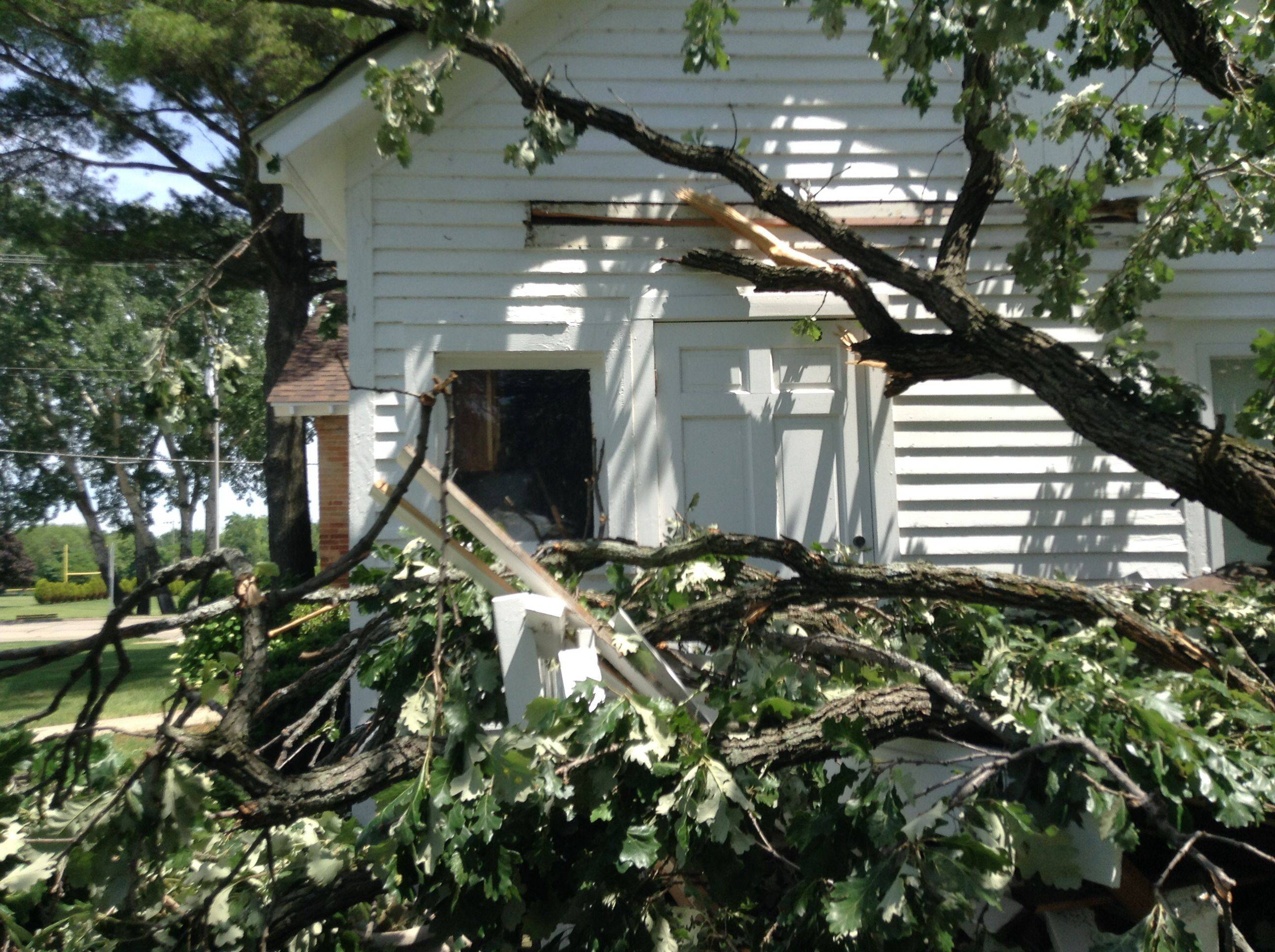 A large oak tree toppled by Saturday's storms landed on the porch of the Andrew C. Cook house, the first non-log cabin home built in Wauconda Township. Fortunately, the home itself, which dates back to 1850, did not suffer extensive damage.