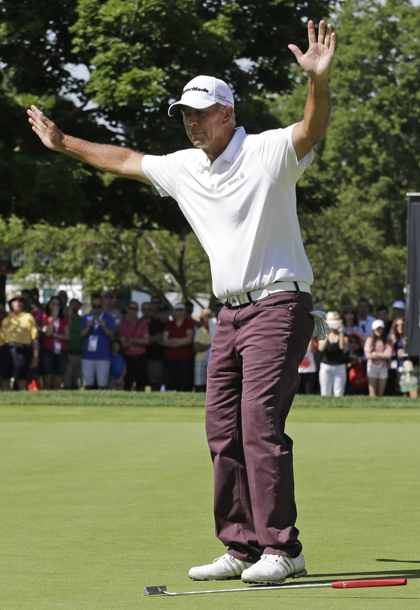 Tom Lehman celebrates after winning the Encompass Championship on Sunday at North Shore Club in Glenview.