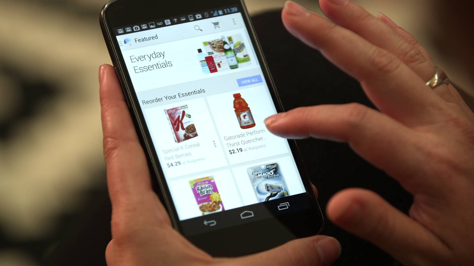 This undated product image provided by Google shows the Google Shopping Express mobile app. Same-day grocery delivery services from Google, Instacart and Postmates are expanding into more cities around the country, delivering everything from cereal to bottled water to toilet paper from nearby stores.