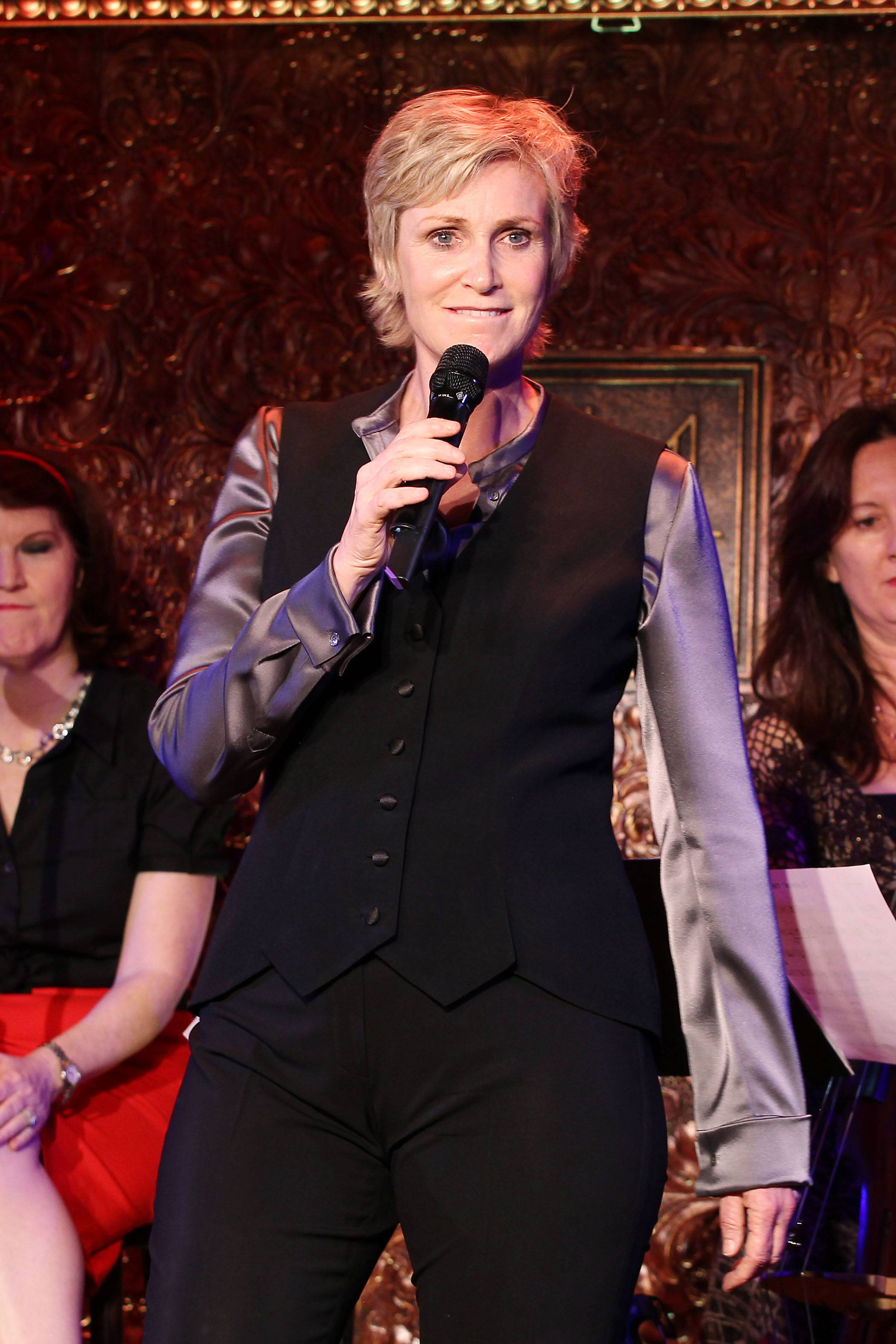 Actor Jane Lynch performs for the press before her concert debut at 54 Below in New York on Wednesday.