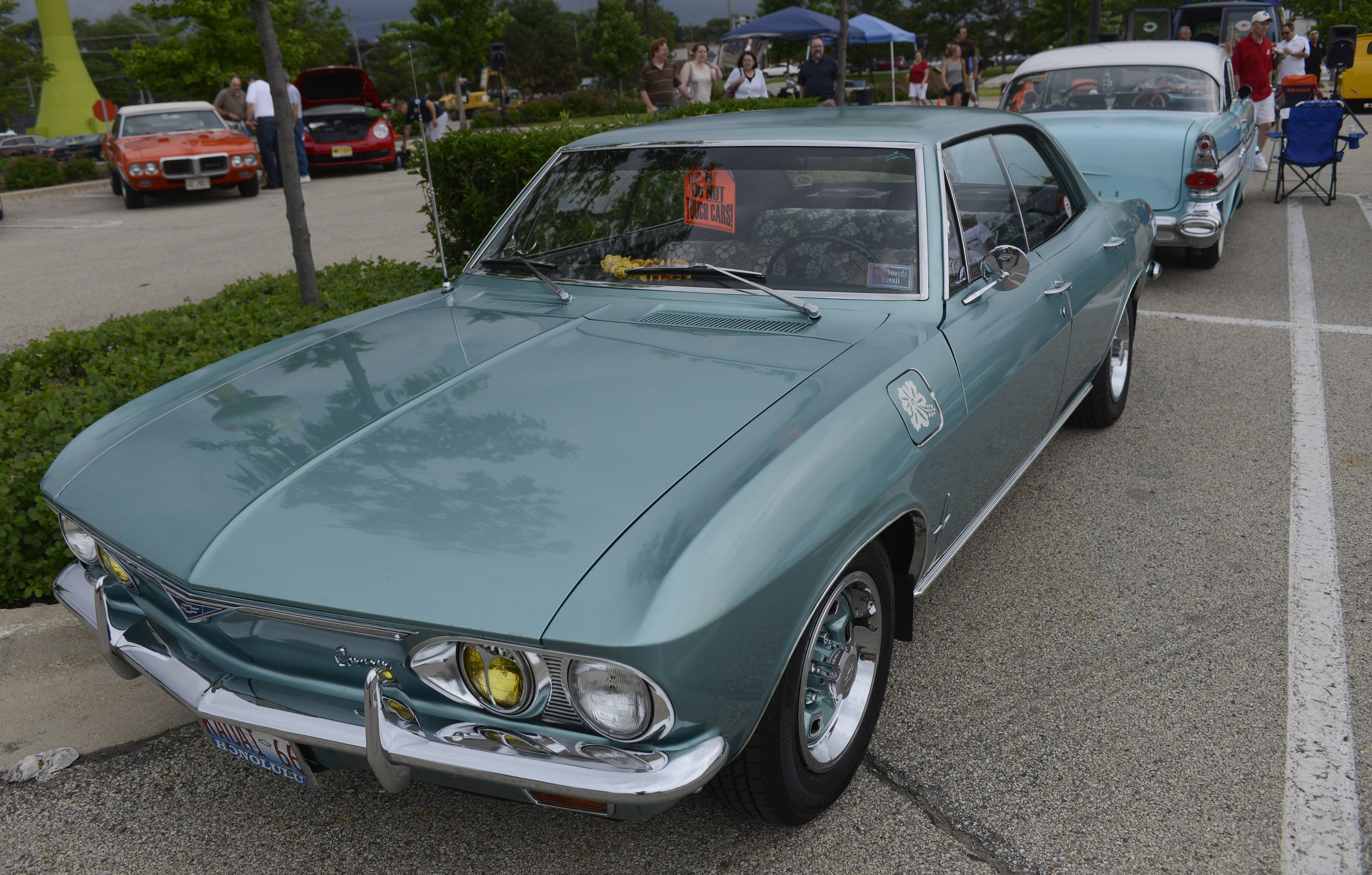 A 1968 Chevy Corvair was among the vehicles at Randhurst Village first cruise night in Mount Prospect.