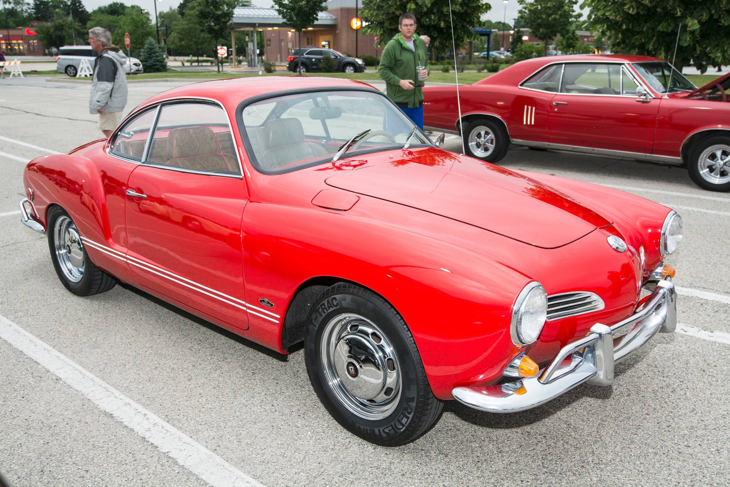 In the two years Gail Goldsmith of Palatine has owned her 1969 Karmann Ghia, she's had the engine rebuilt and replaced the badging. She had just gotten the car back the morning of the cruise night after having the interior redone in paisley-patterned leather.