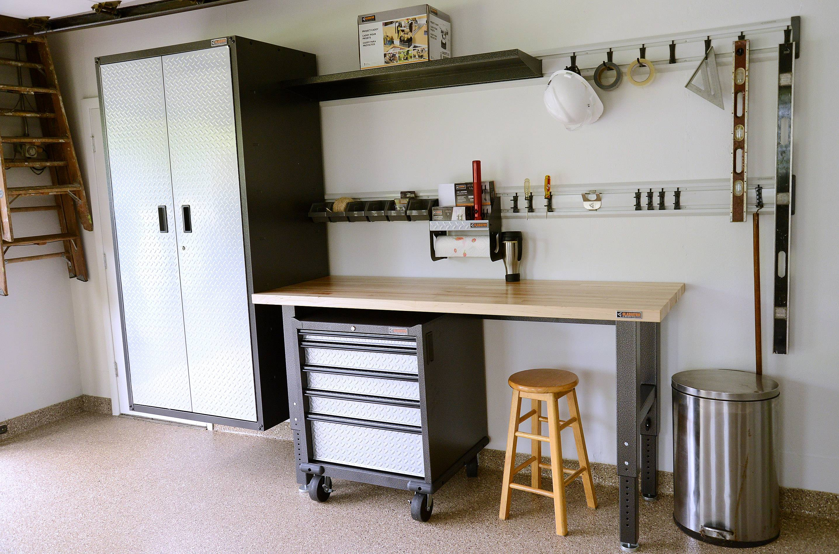 "Work bench and off-theground storage locker are some of the features in the Eglund's ""new"" garage."