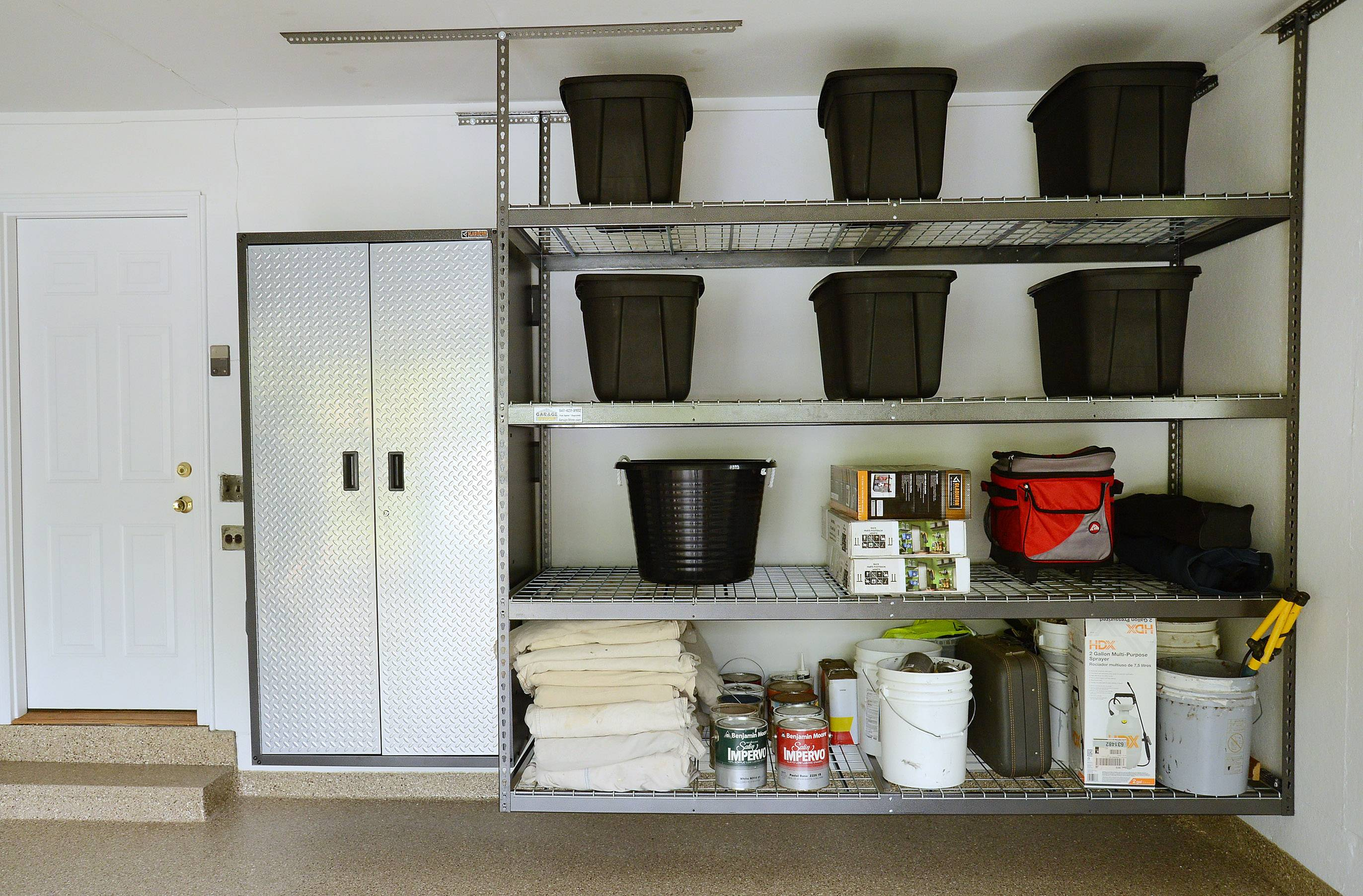 Storage is kept off the floor in Heidi Eglund's Prospect Heights garage.