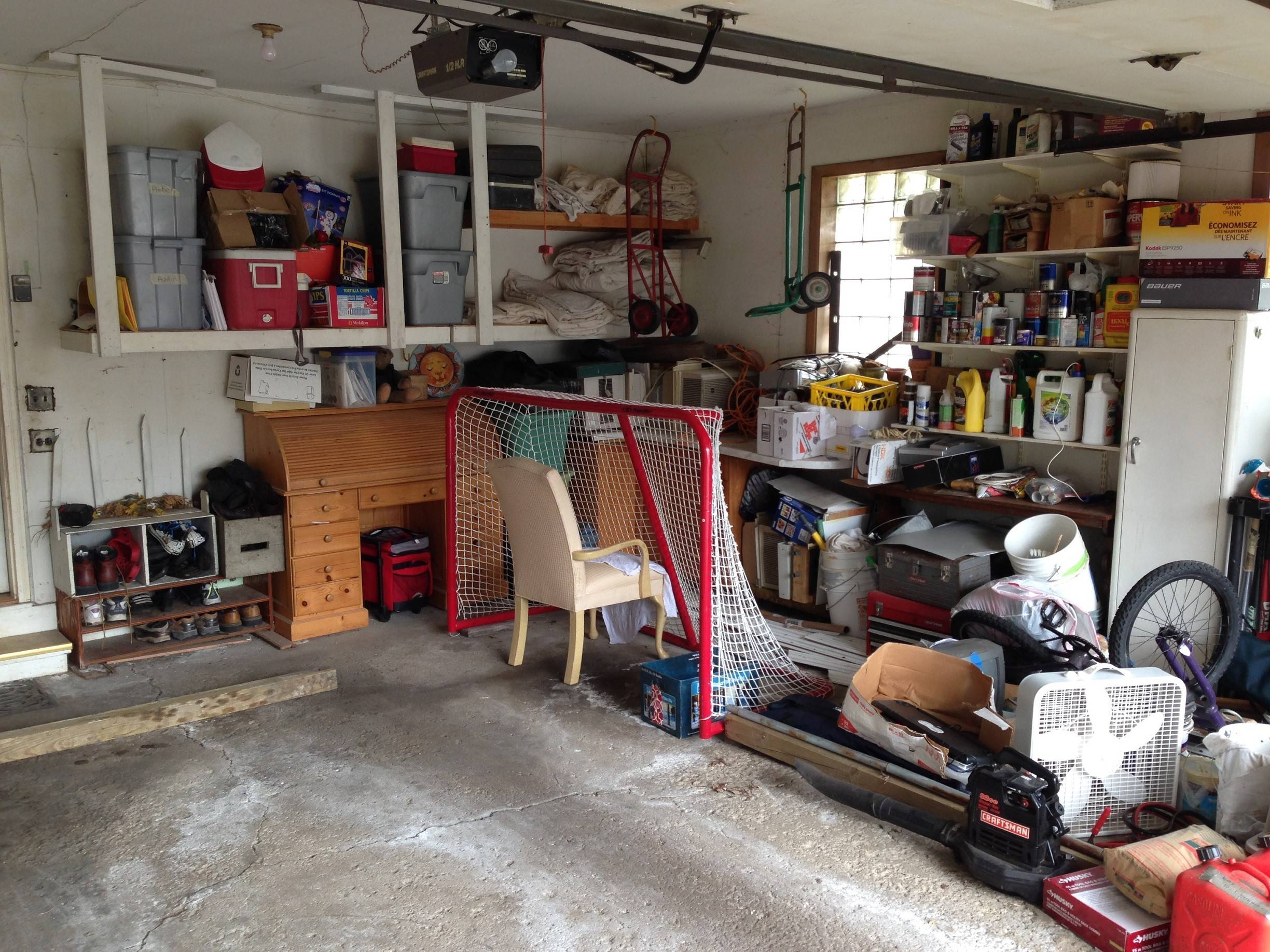 The Eglund's garage floor was pitted and cracked before the makeover.