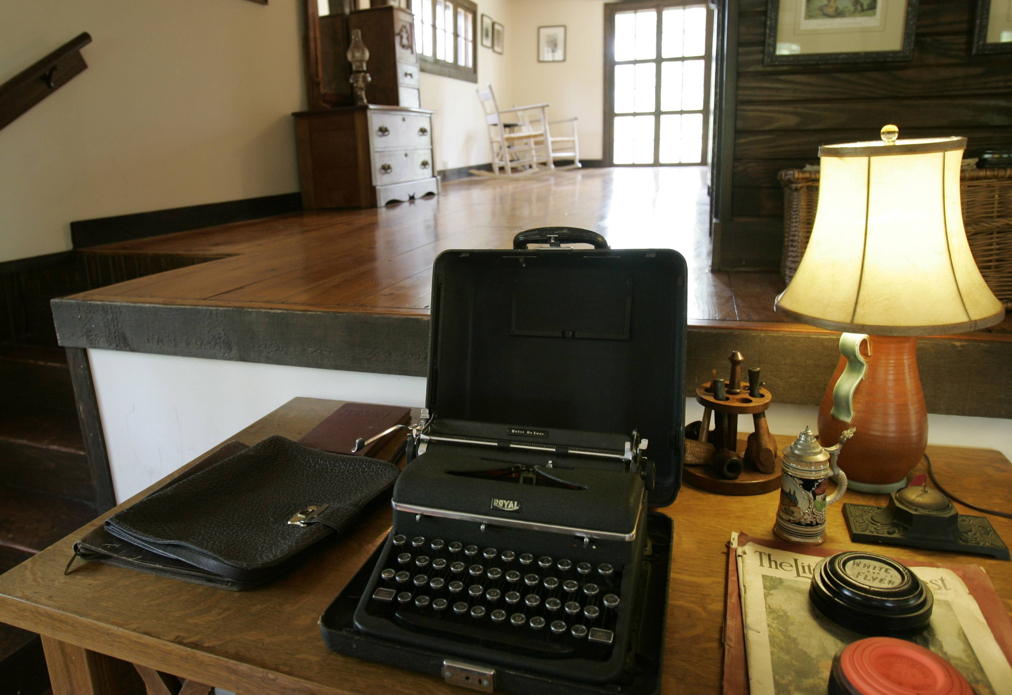 A 1930s-era typewriter sits on a desk in the loft of a converted barn once used as a studio by author Ernest Hemingway on his then in-laws' property in Piggott, Ark.