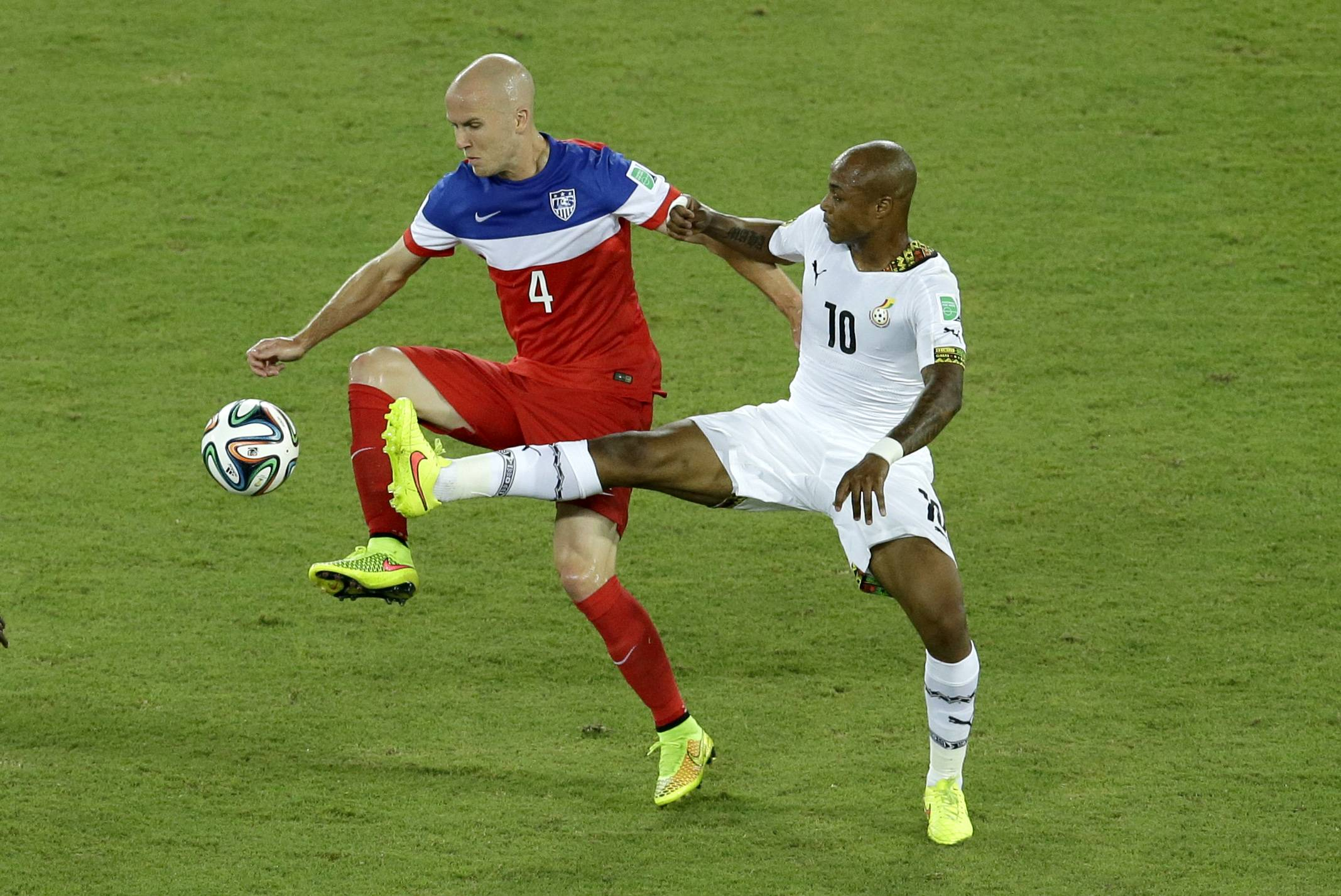 Michael Bradley and Ghana's Andre Ayew challenge for the ball during the U.S.'s big win June 16. Bradley called his play during the match not precise and not focused.