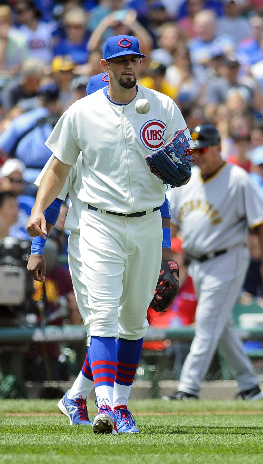 Cubs starting pitcher Jason Hammel flips the ball after the second Pirates run scored during the third inning Sunday. Hammel allowed only those 2 runs in 7 innings but suffered the loss.