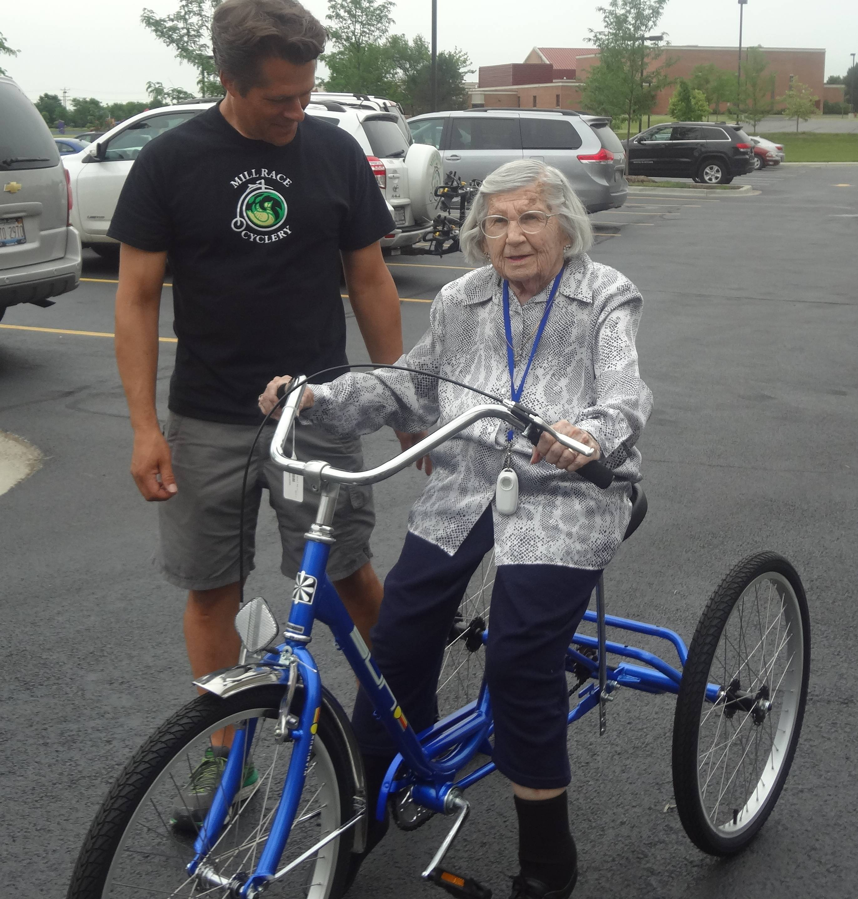 GreenFields of Geneva resident Clara VanBosch, age 100, was offered the chance to ride a trike provided by Mill Race Cyclery.