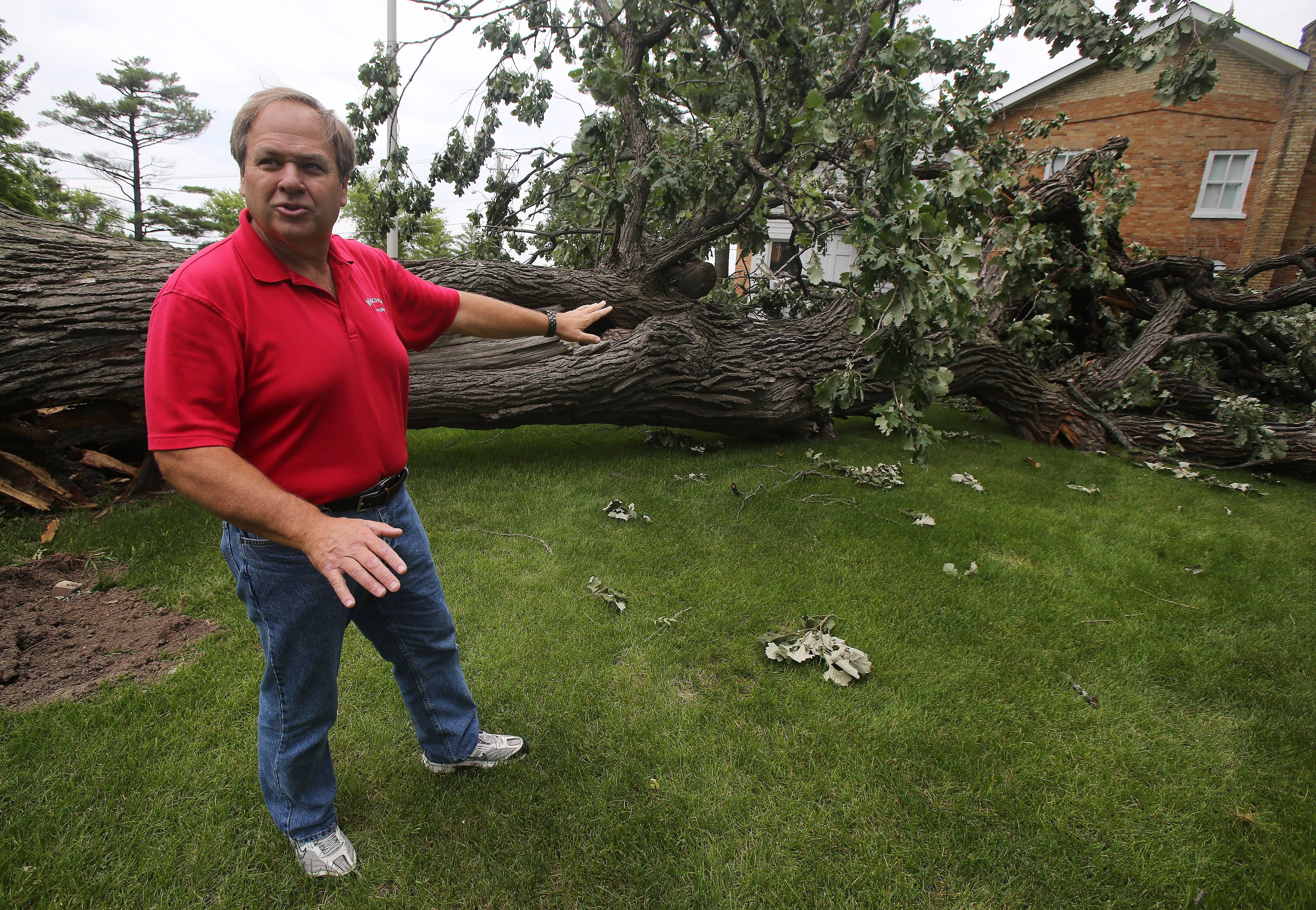 Wauconda Township Supervisor Glenn Swanson discusses the damage done by a tree that fell during a storm Saturday and hit the back porch of the historic Andrew C. Cook House in Wauconda.