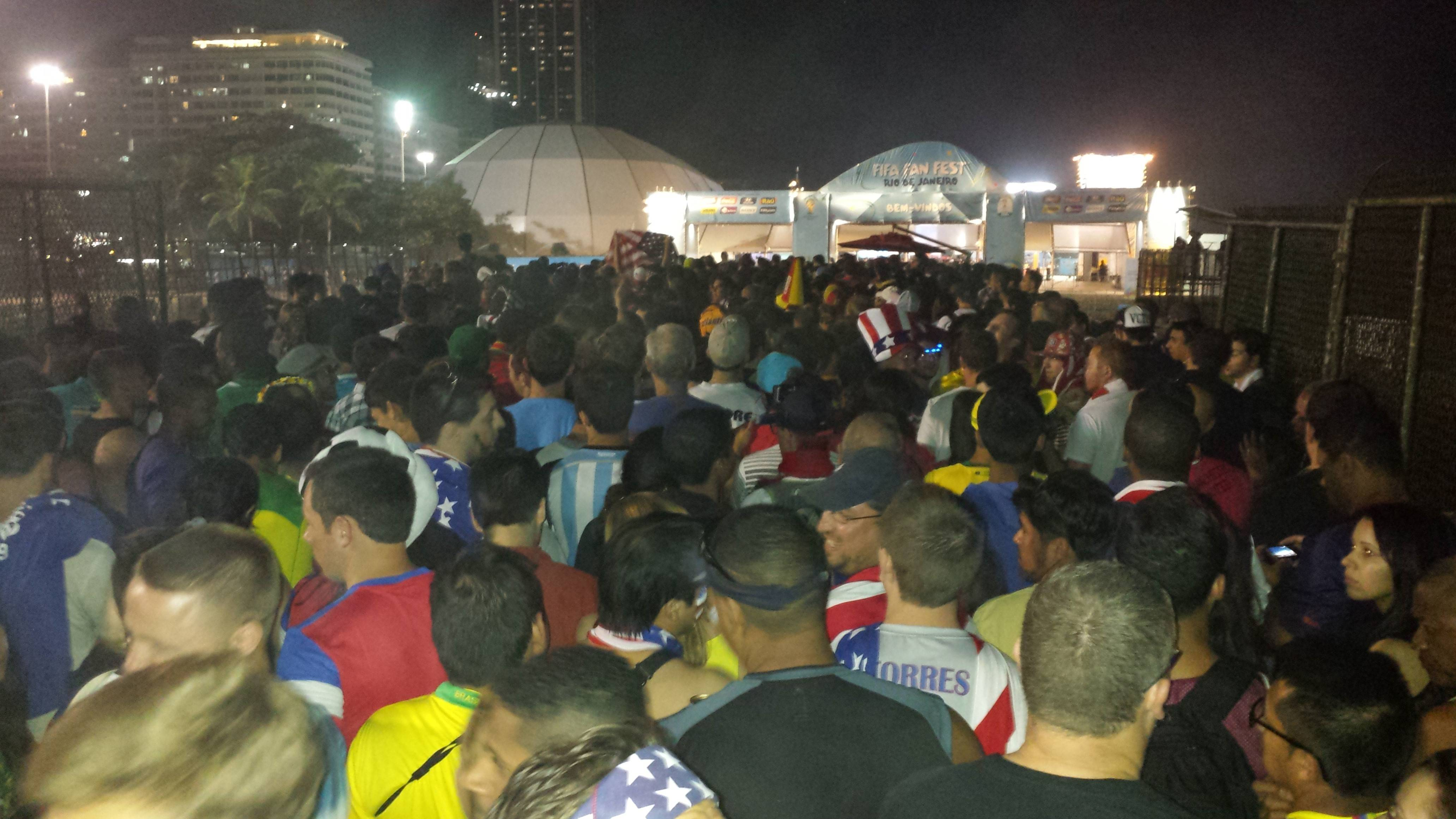 This was the scene at Copacabana Beach in Rio de Janeiro on Sunday as thousands watched on a giant-screen television when Team USA battled Portugal in the World Cup.