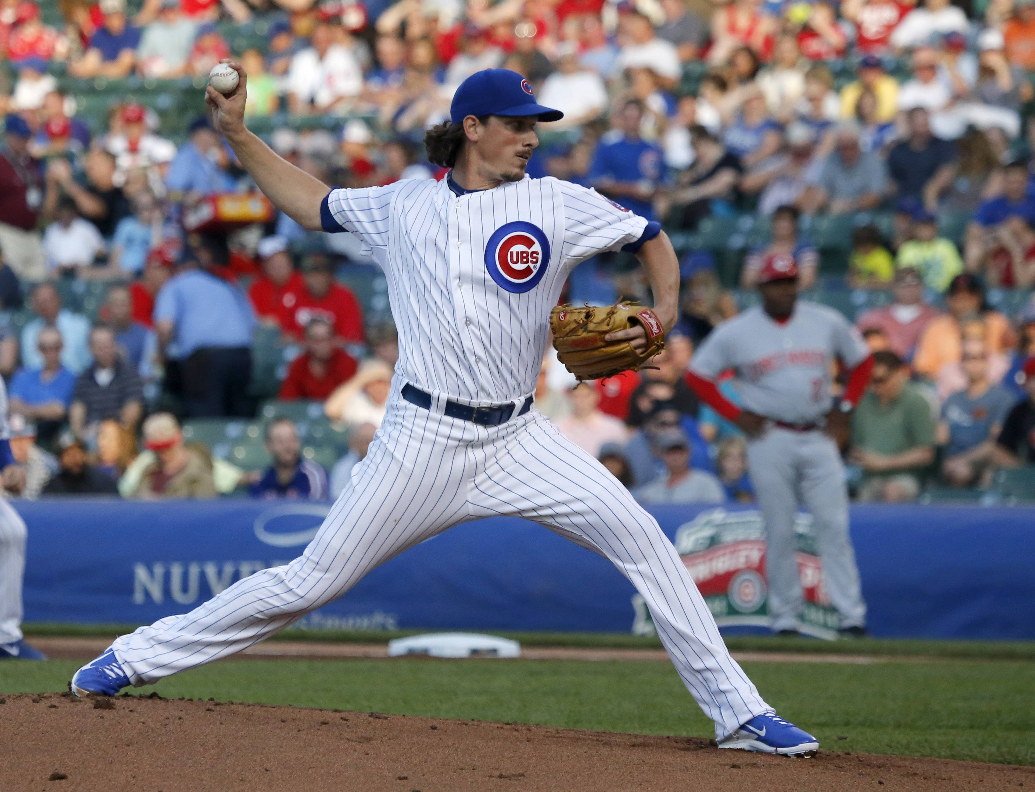 Chicago Cubs starting pitcher Jeff Samardzija delivers during the first inning of a baseball game Monday against the Cincinnati Reds in Chicago.