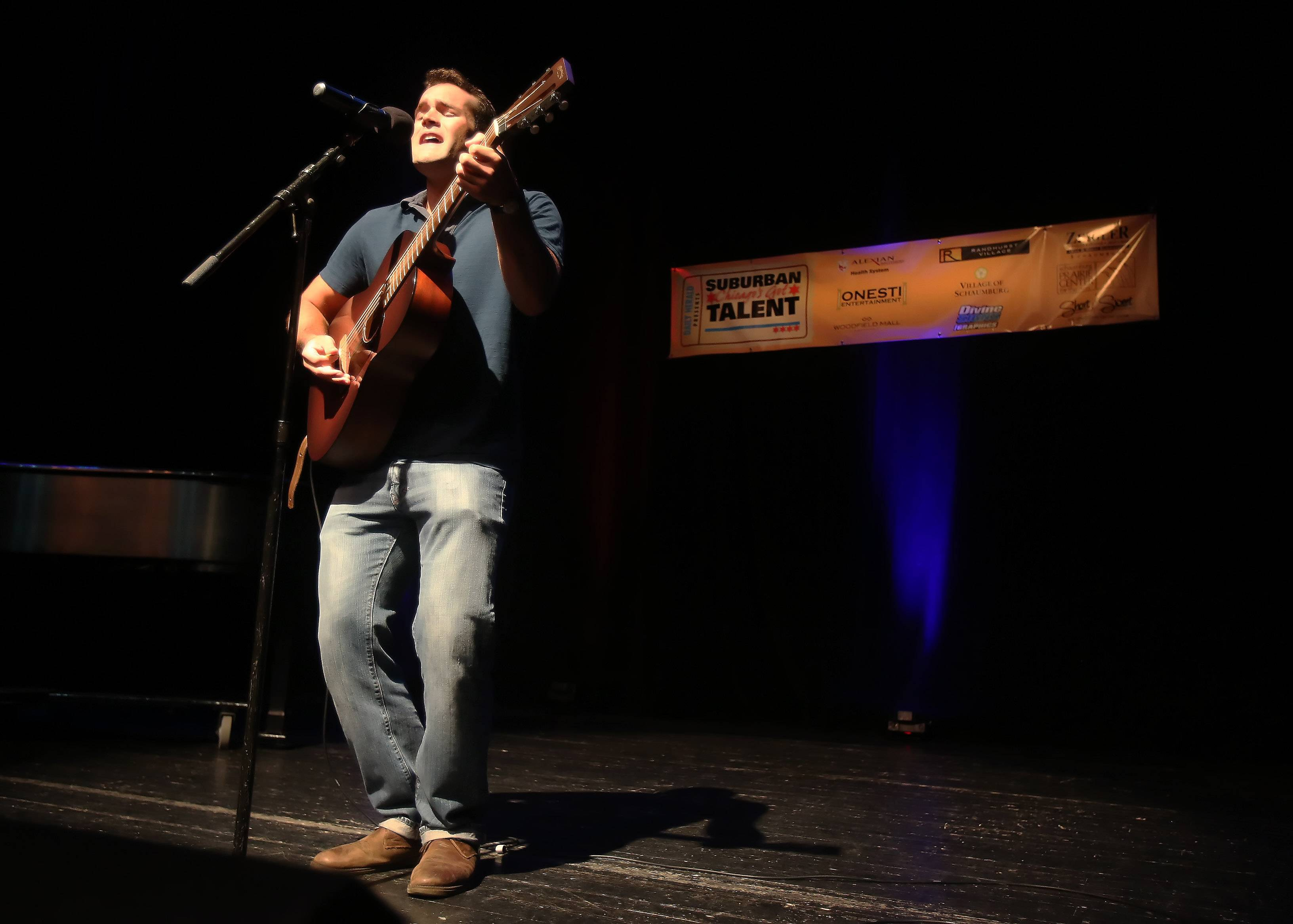 Dennis Caravello of Mount Prospect performs during Sunday's performance of the top 20 finalists of the Suburban Chicago's Got Talent competition Sunday at the Prairie Center for the Arts in Schaumburg.
