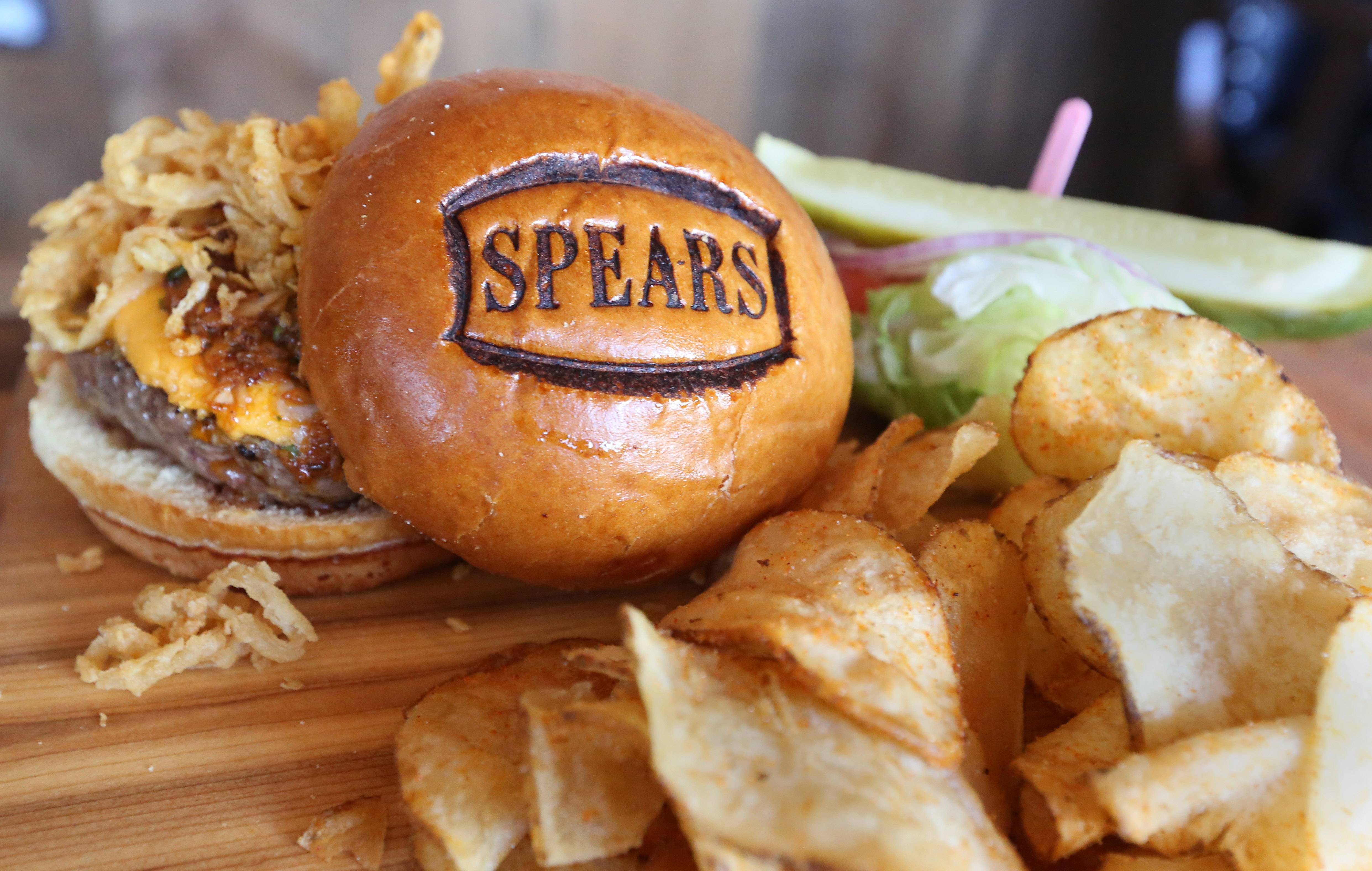 Spears's burgers, including the Hangover Burger, start with antibiotic- and growth-hormone-free, grass-fed beef.