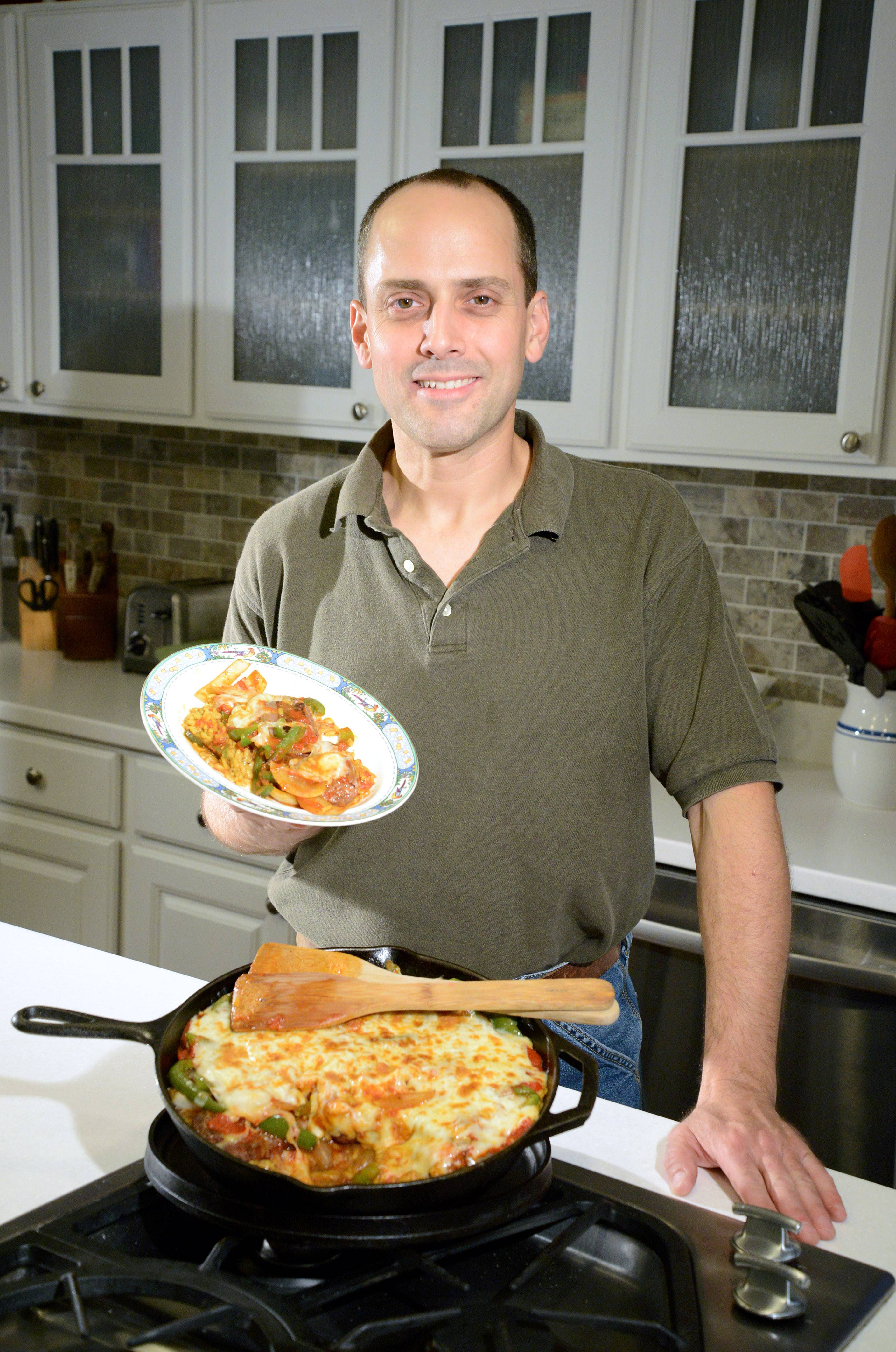 Brian Peterson of Elgin hunted and butchered the venison that goes into his Italian Hunter's Pie. The dish can be made in a cast iron skillet, or the meat can be seared on the grill and transferred to a baking pan with the remaining ingredients.