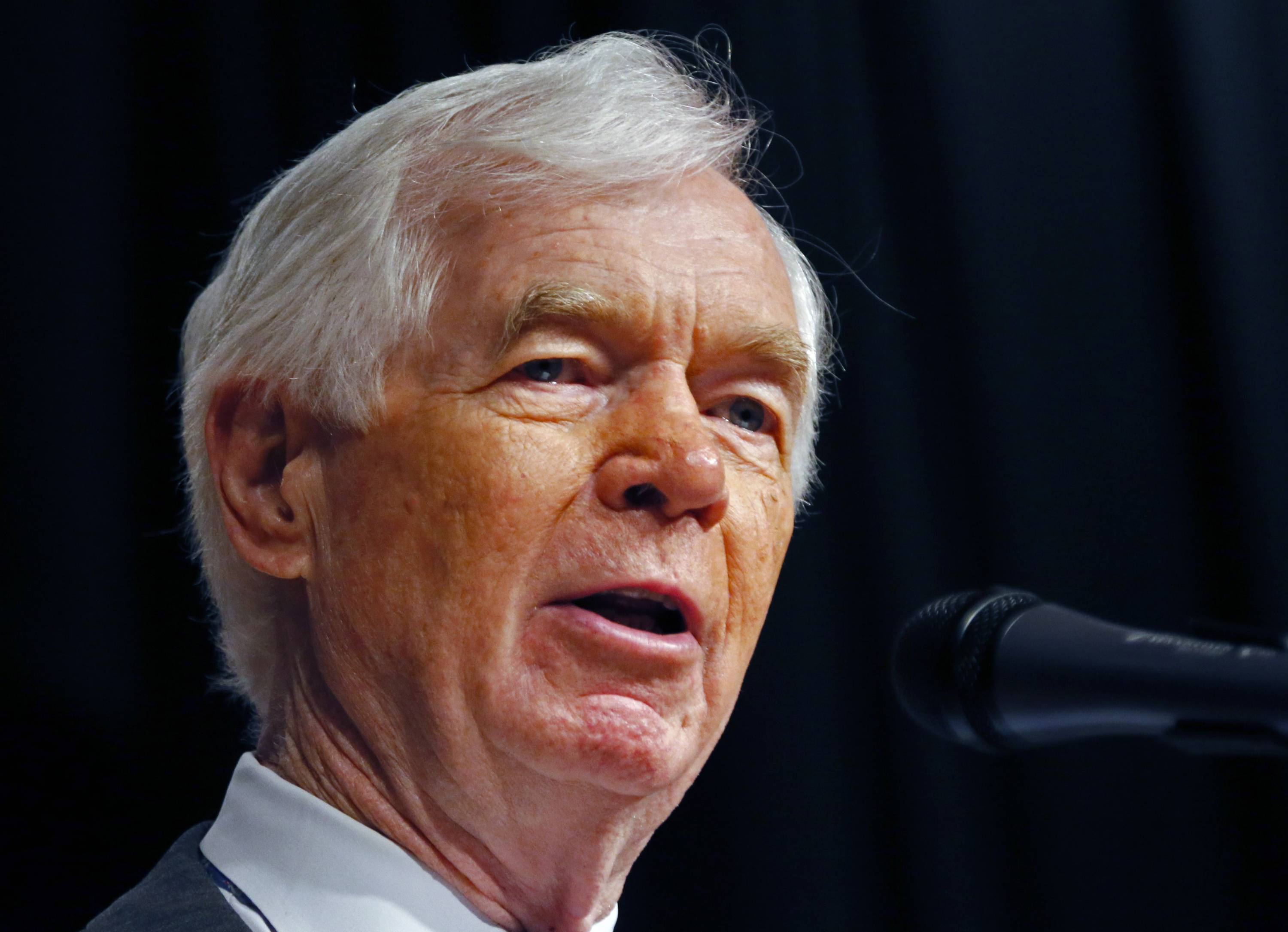 Mississippi Republican Sen. Thad Cochran speaks Monday at a re-election rally on his behalf at the Mississippi War Memorial in Jackson, Miss. Voters head to the polls in seven states Tuesday, and two of the longest serving members of Congress face challenges that could end their careers. In Mississippi, six-term Cochran faces Tea Party challenger Chris McDaniel in a Republican primary runoff. McDaniel is a 41-year-old state lawmaker who led Cochran by less than 1,400 votes but didn't win a majority in the first round of voting.