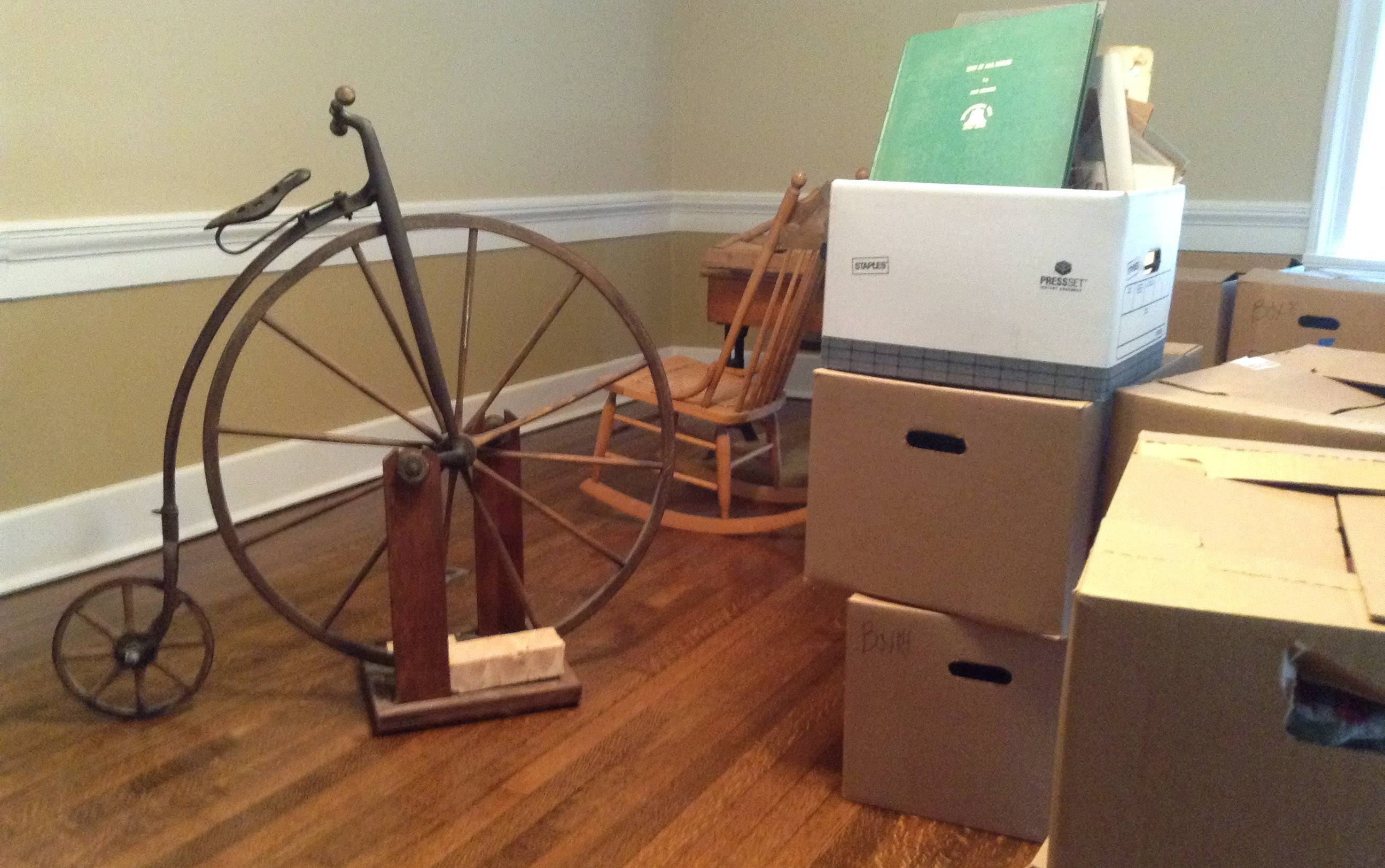 Items are being readied for display by the Wauconda Township Historical Society in the revamped Andrew C. Cook House.