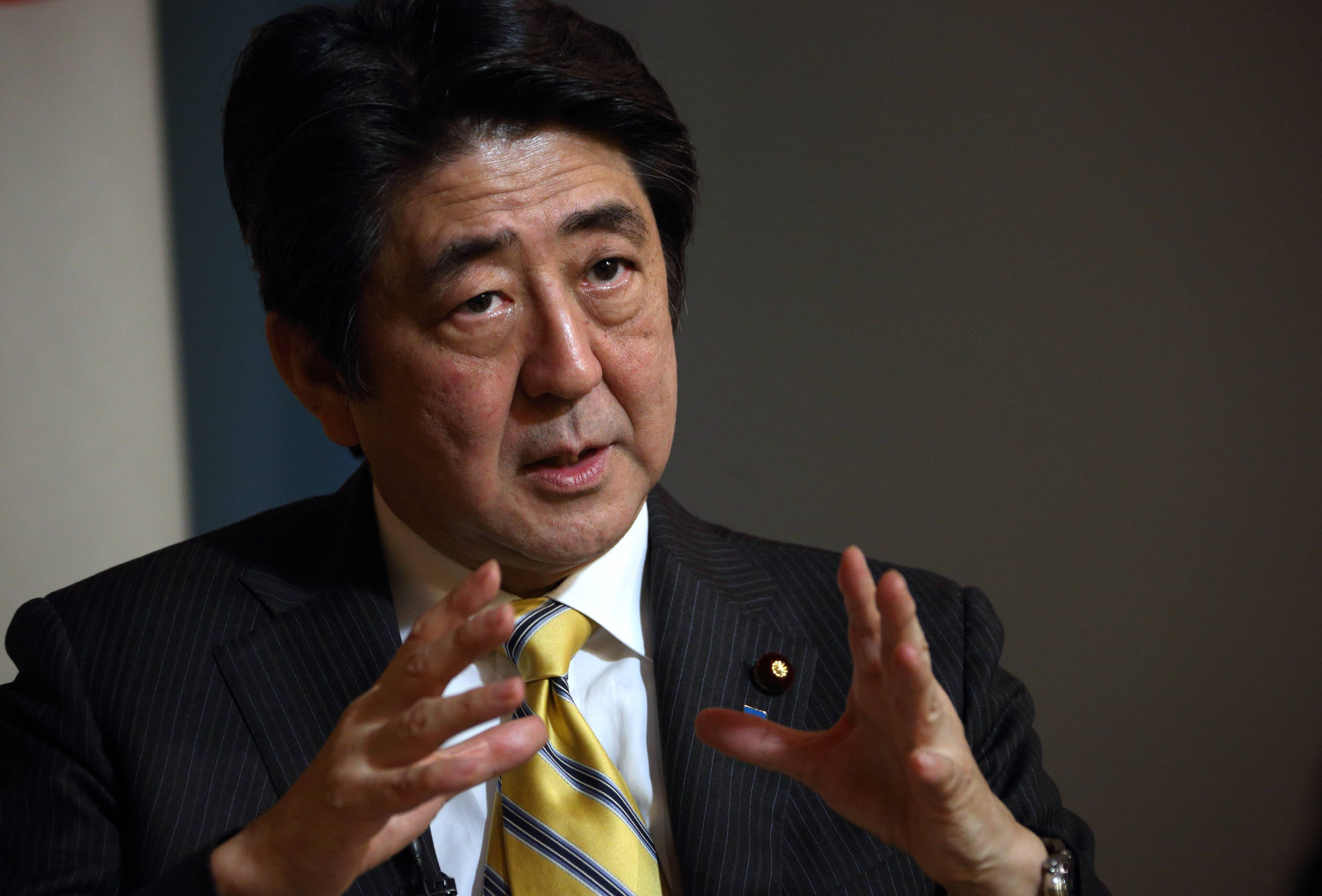Shinzo Abe, Japan's prime minister, speaks Thursday during an interview at the prime minister's official residence in Tokyo.