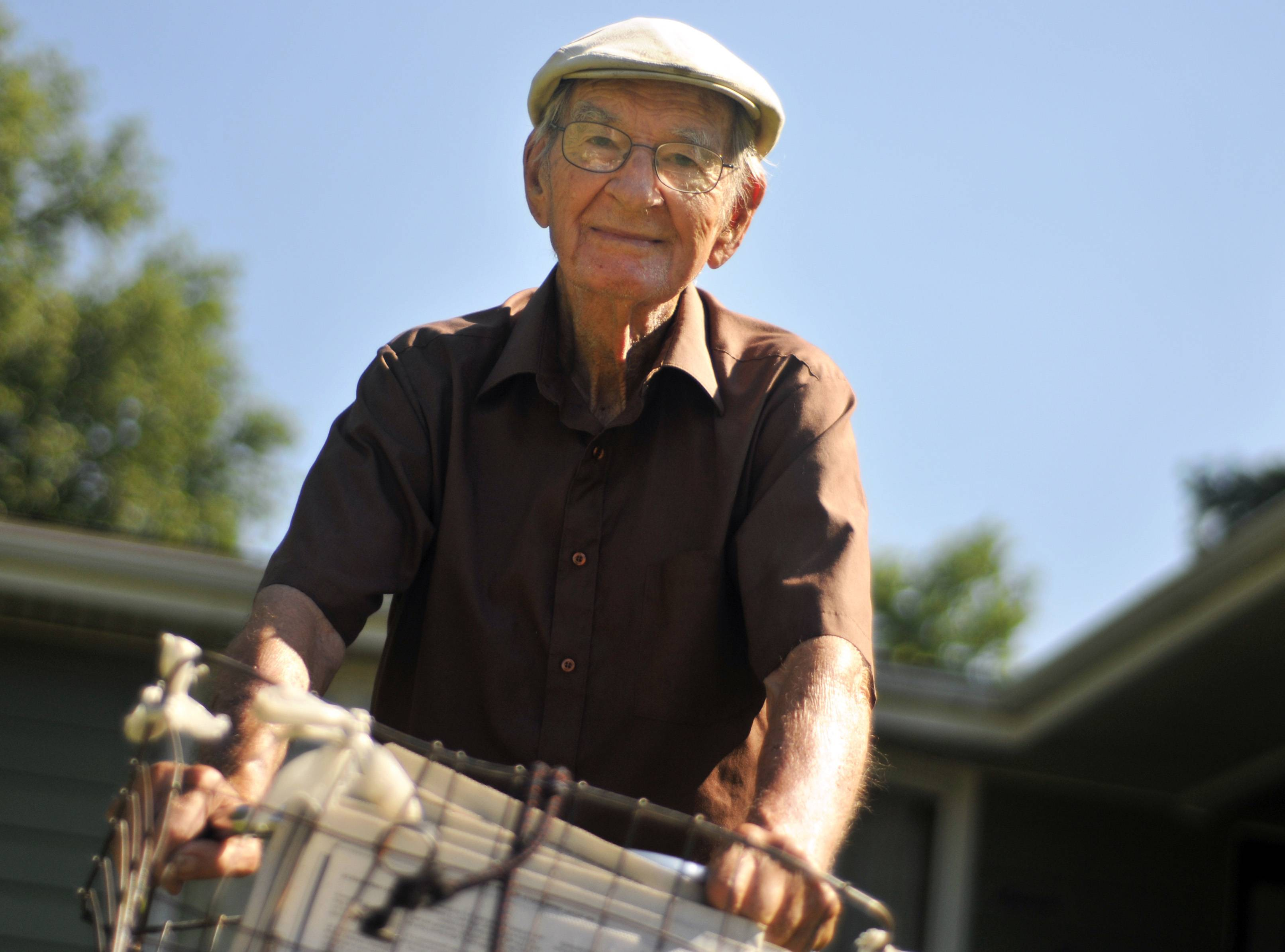 Marvin Teel rode his antique Schwinn bicycle five days a week to deliver newspapers in downstate Christopher.