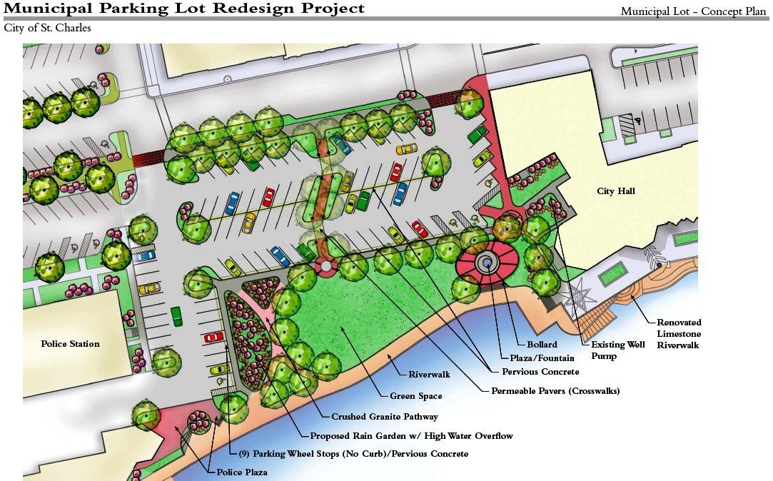 The municipal parking lot renovation would add significant green space in hopes of making the area behind St. Charles' city hall an attractive community gathering place.