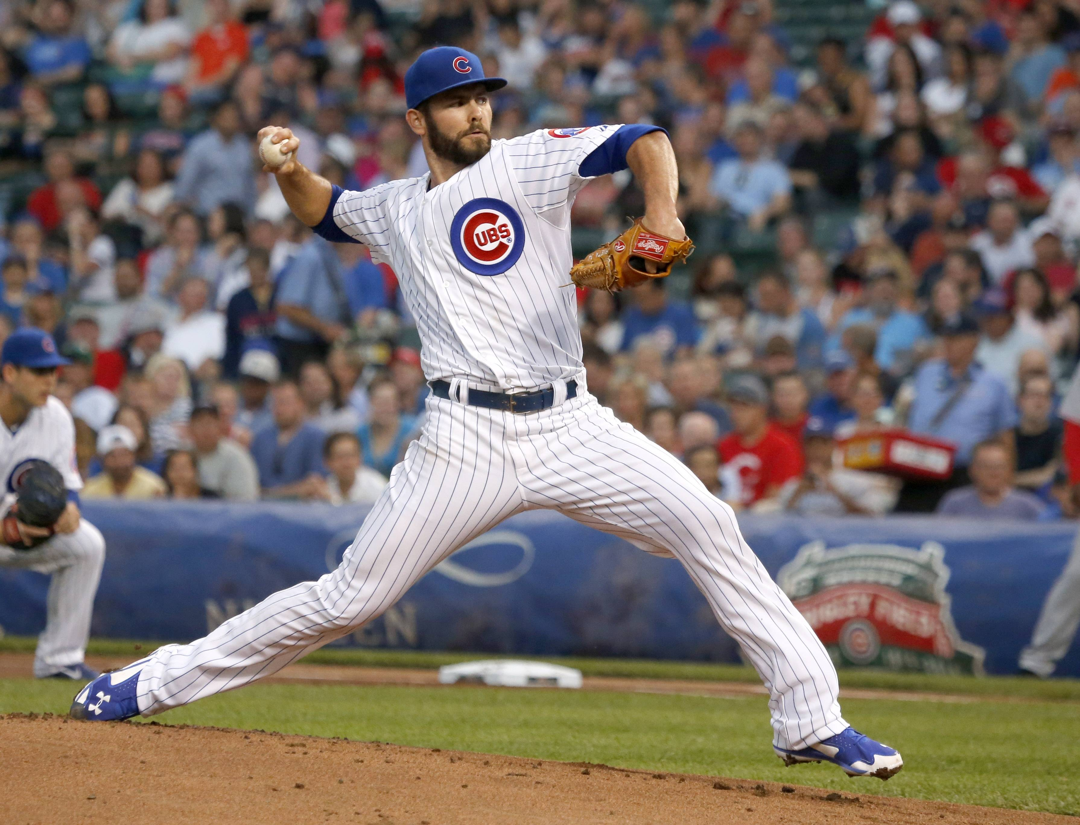 Cubs starting pitcher Jake Arrieta took a perfect game into the seventh inning Tuesday night at Wrigley Field. He allowed 2 runs on 3 hits in the seventh before being taken out of the game.