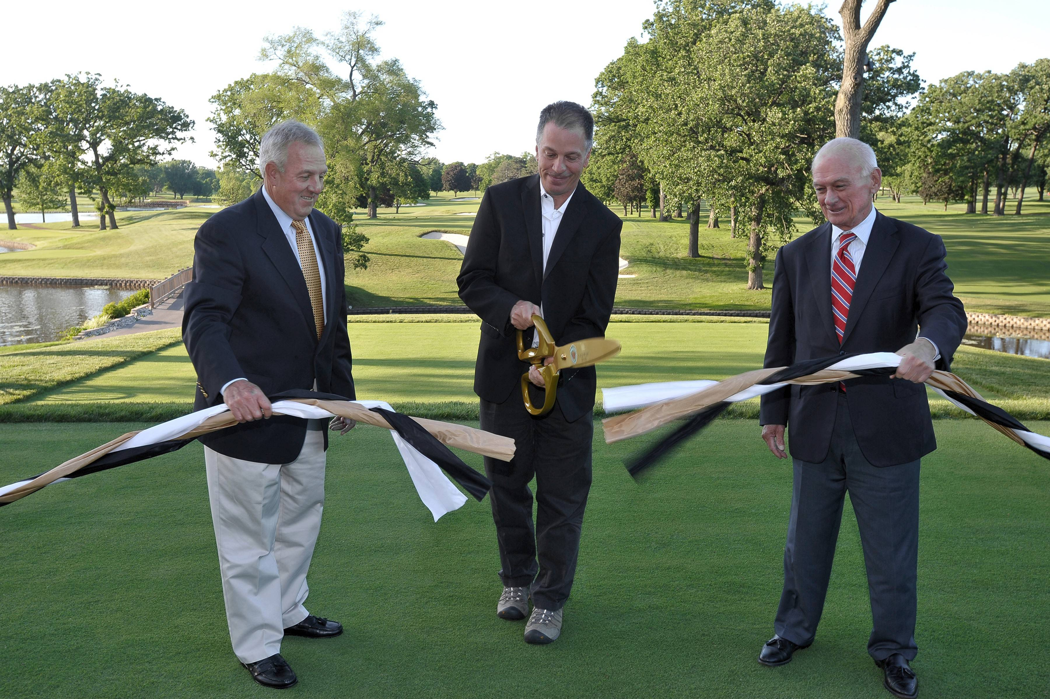Taking part at the Medinah Course No. 1 ribbon-cutting ceremony on June 13 were Medinah Country Club vice president Bruce D'Angelo, left, architect Tom Doak, and Medinah Country Club president Matthias A. Lydon