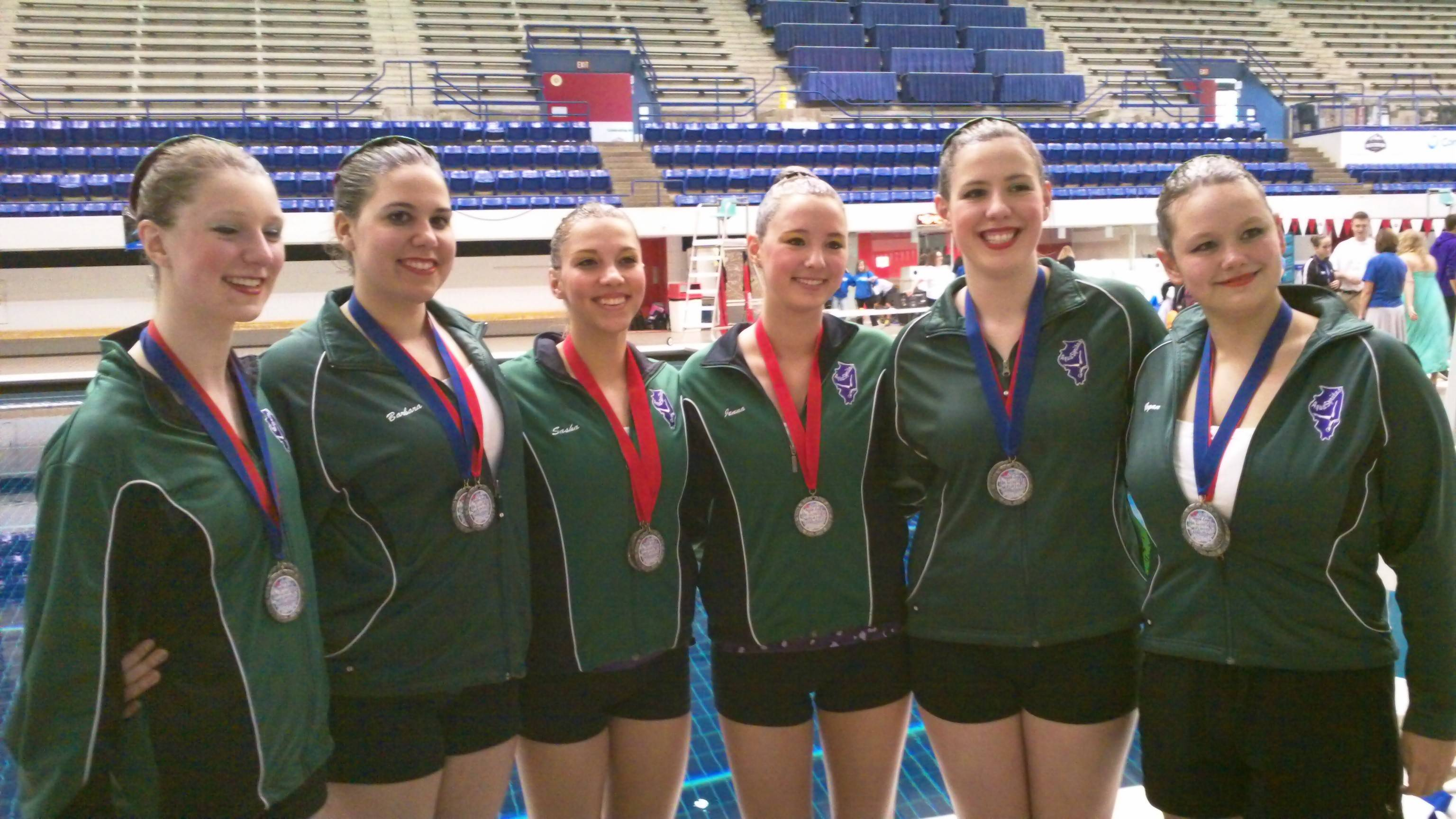 The 16-19 AquaSprites Team, from left, Katie Kenny, Barbara Garcia Stam, Sasha Boudko, Jenna Gudritz, Alice Kenny and Megan Moyer, with their medals at the regional championship in Indianapolis, Indiana, in May.