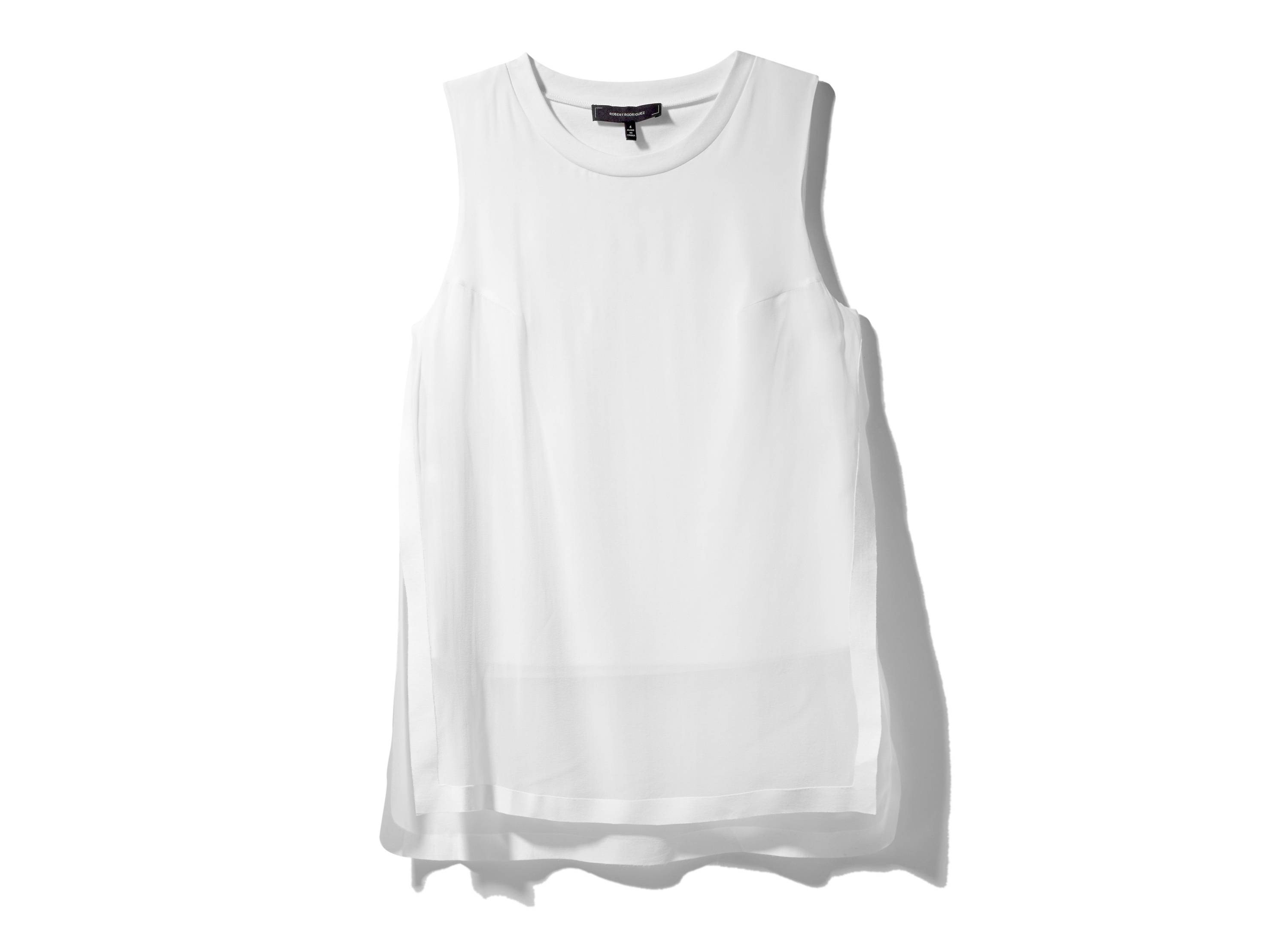 This white chiffon overlay tank top is one of the wardrobe essentials for summer, according to Dana Avidan-Cohn, a senior editor at InStyle magazine.