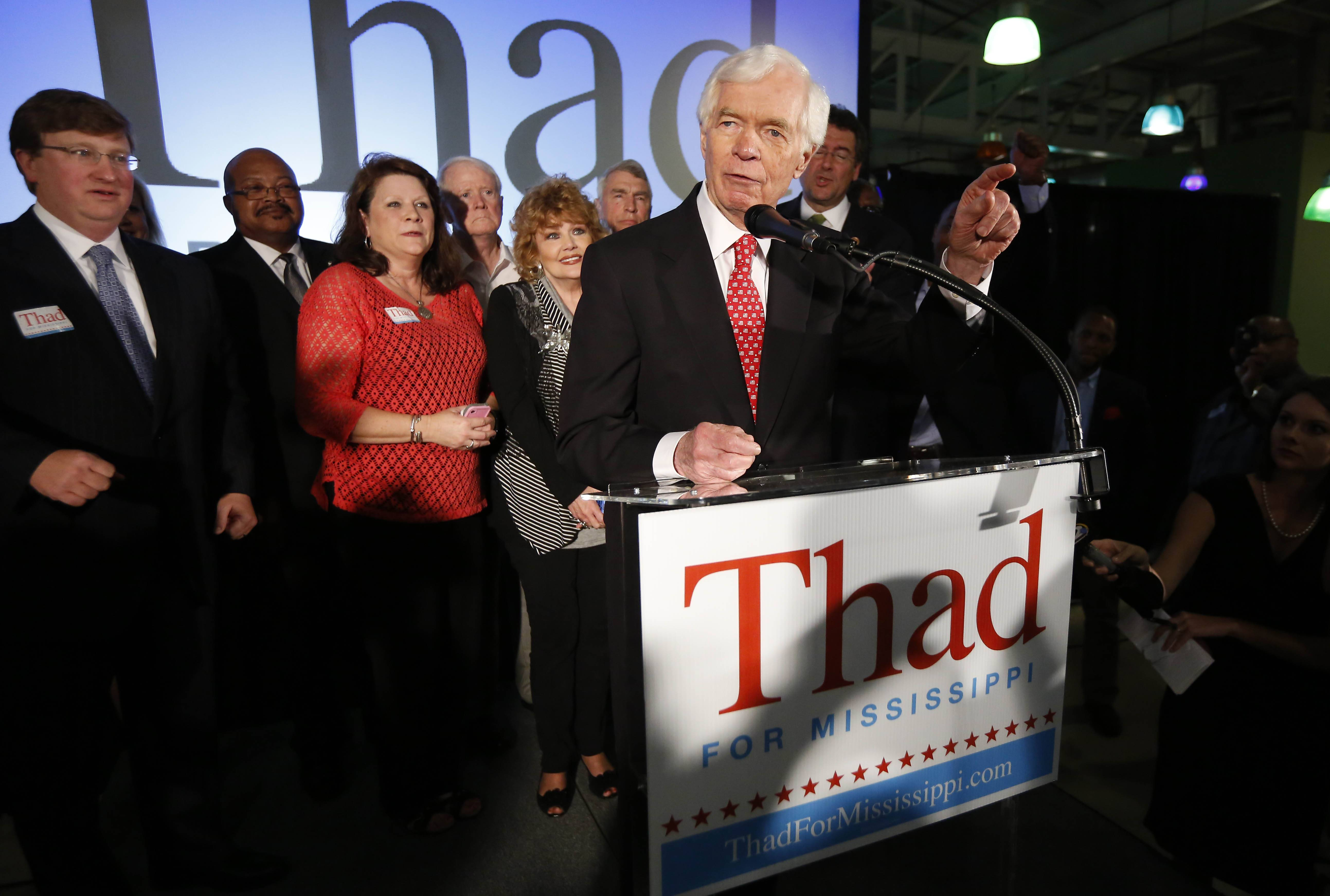 U.S. Sen. Thad Cochran, a Mississippi Republican, addresses supporters and volunteers at his runoff election victory party Tuesday in Jackson, Miss. Cochran defeated state Tea Party-backed Sen. Chris McDaniel.