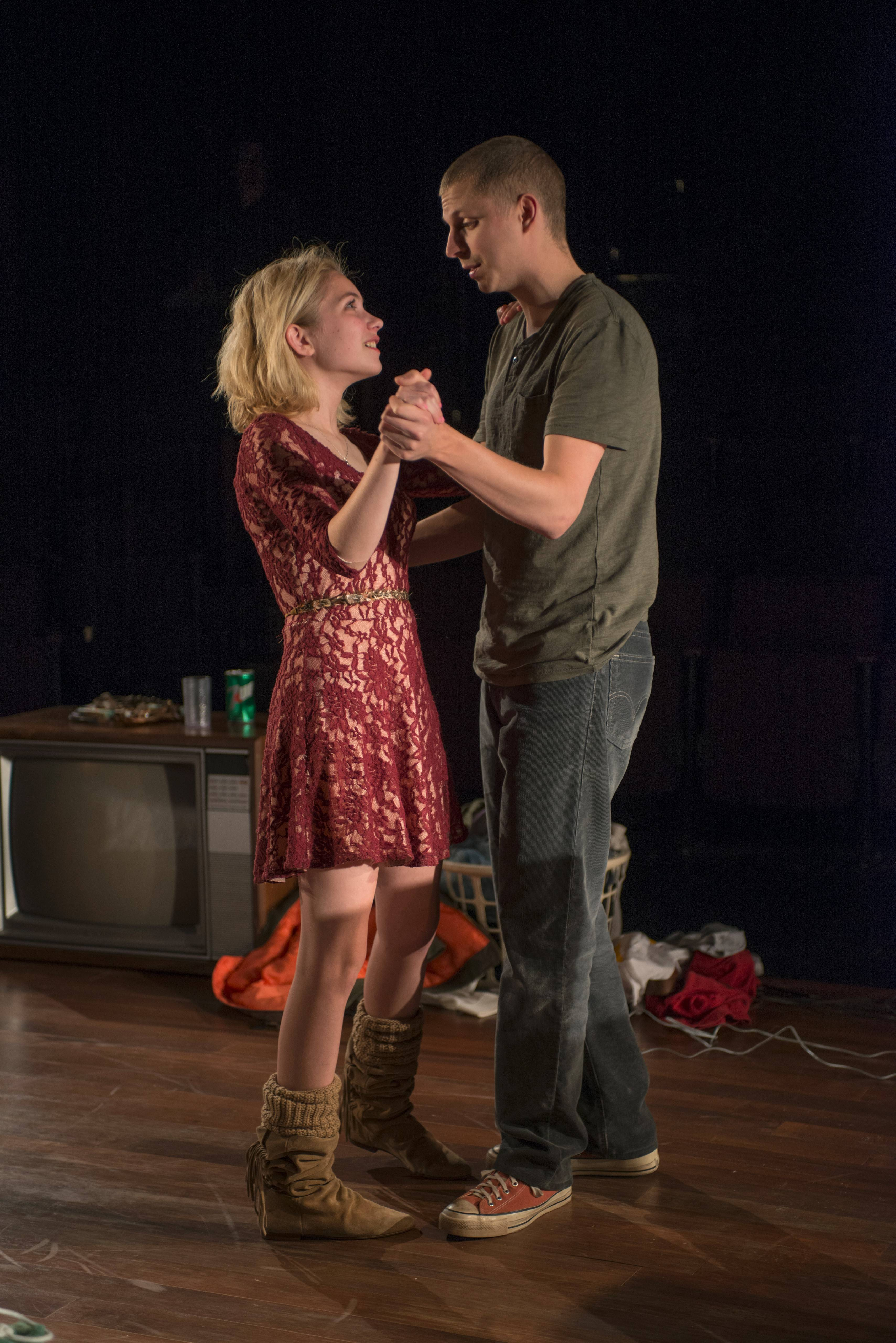 "Jessica (Tavi Gevinson) and Warren (Michael Cera) share a tender moment in director Anna D. Shapiro's intimate pre-Broadway revival of Kenneth Lonergan's ""This is Our Youth"" for Steppenwolf Theatre."