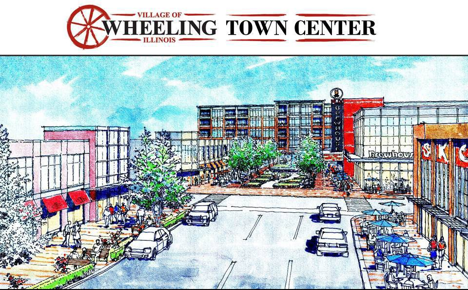 The latest rendering for the proposed Wheeling Town Center, which village officials say is doomed if other governing bodies sue to overturn two tax increment financing districts.