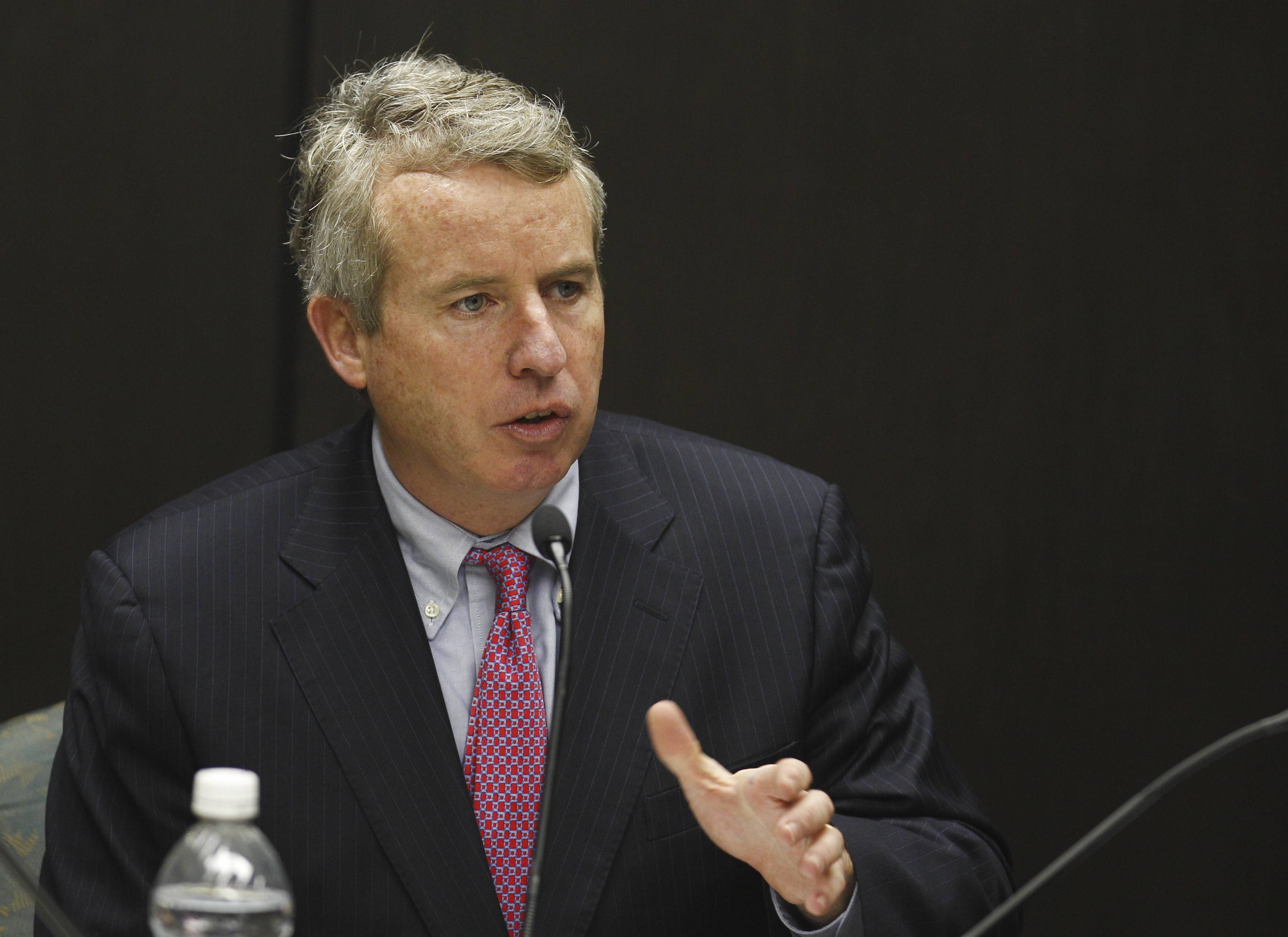 Christopher Kennedy, chairman of the University of Illinois Board of Trustees, presides over a meeting in Chicago.
