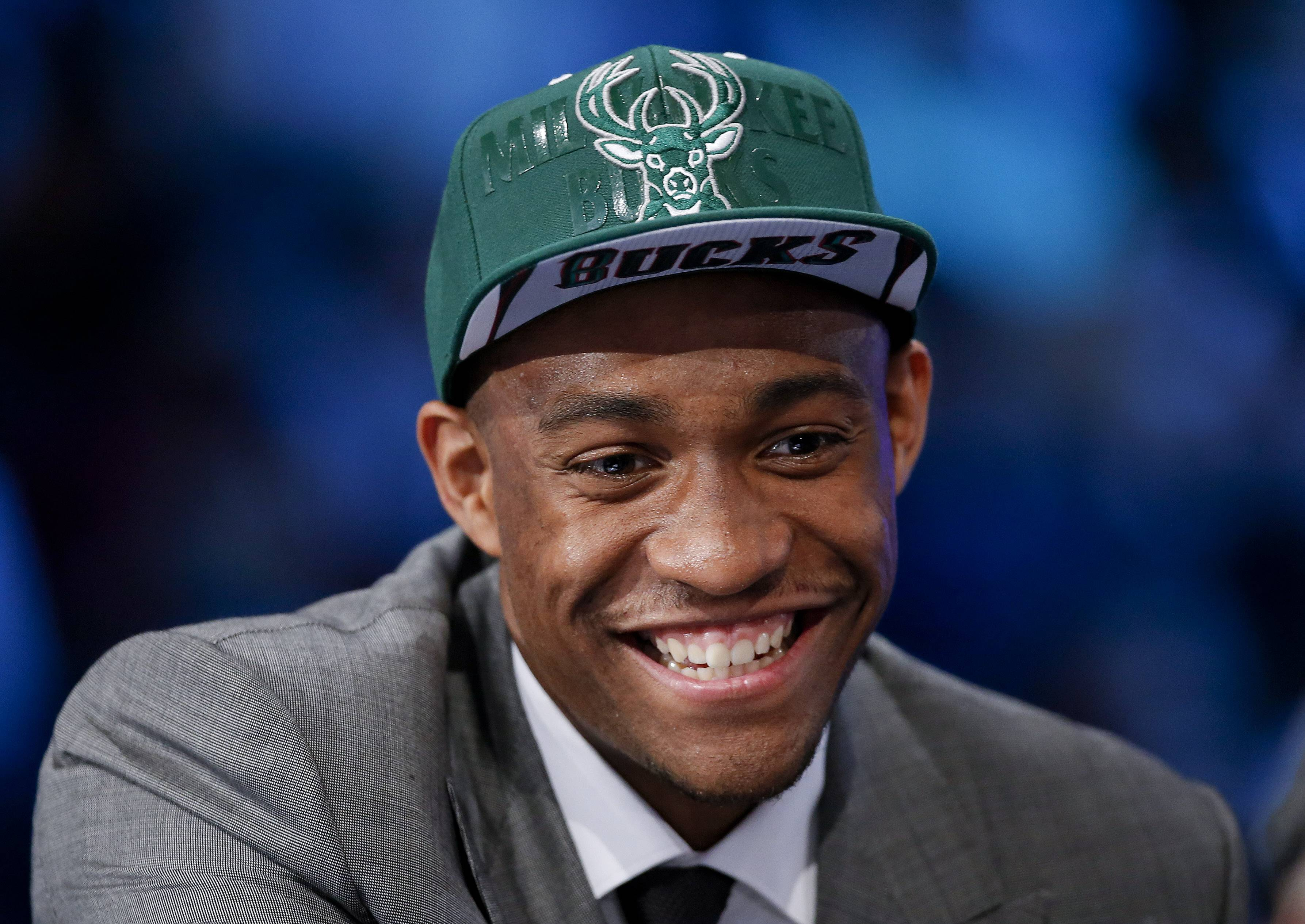 Jabari Parker of Duke answers questions during an interview after being selected by the Milwaukee Bucks as the number two overall pick during the 2014 NBA draft, Thursday, June 26, 2014, in New York. (AP Photo/Kathy Willens)