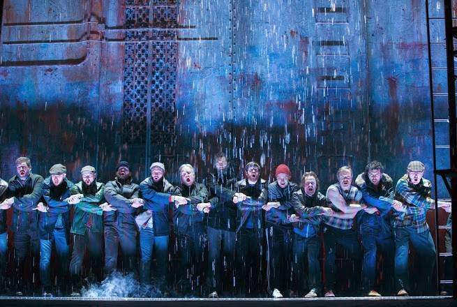 "The imminent closing of the shipyard threatens the livelihoods of the men of Wallsend, England, in ""The Last Ship,"" a new musical by Sting and writers John Logan and Brian Yorkey in its pre-Broadway premiere at Chicago's Bank of America Theatre."