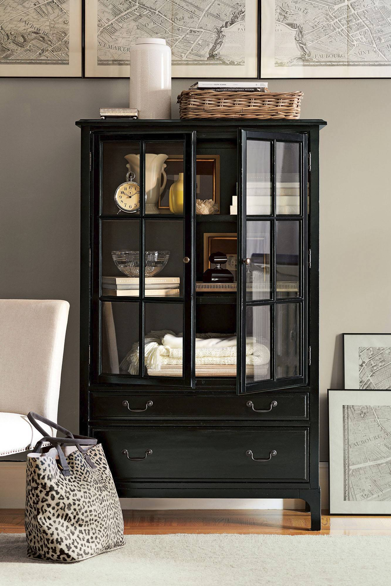Books that are collectibles and need some protection can go in the Bronson bookcase from Pottery Barn.
