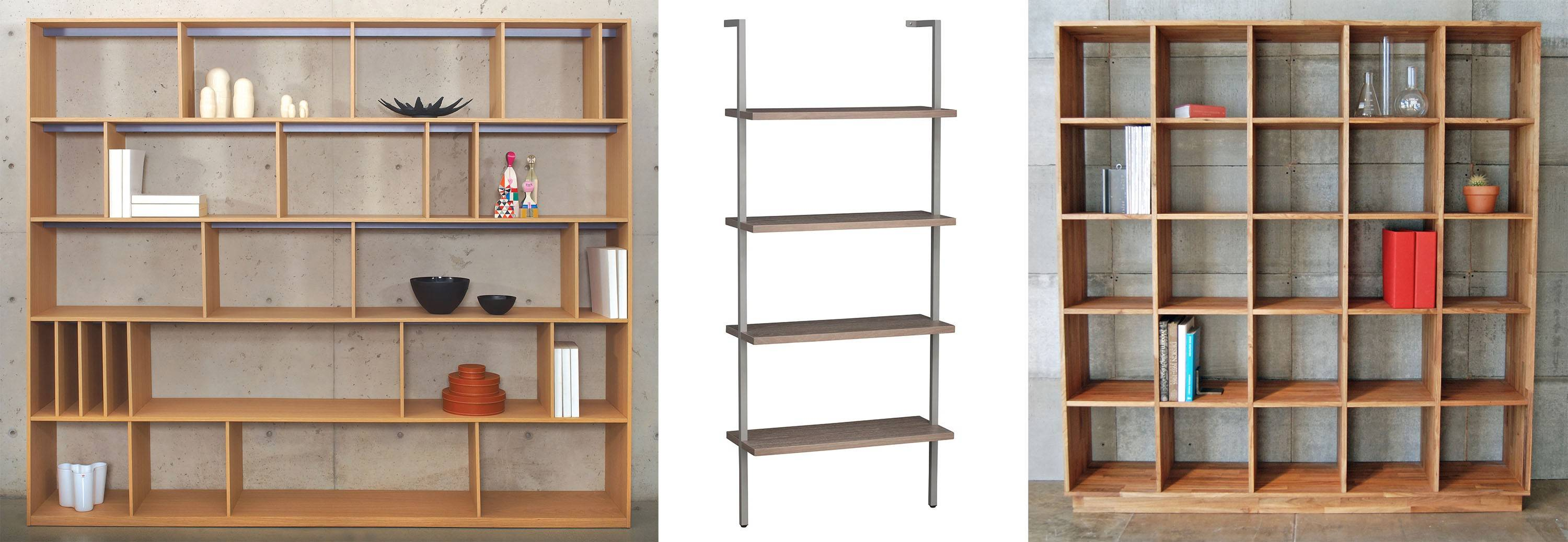 For a large collection of books, the Format open bookcase by Bensen comes in multiple sizes and finishes (left); for a tiny room, CB2's Helix taupe bookcase would be perfect (center); for a modern setting, try the LAX Series bookshelf by Mash Studios (right).