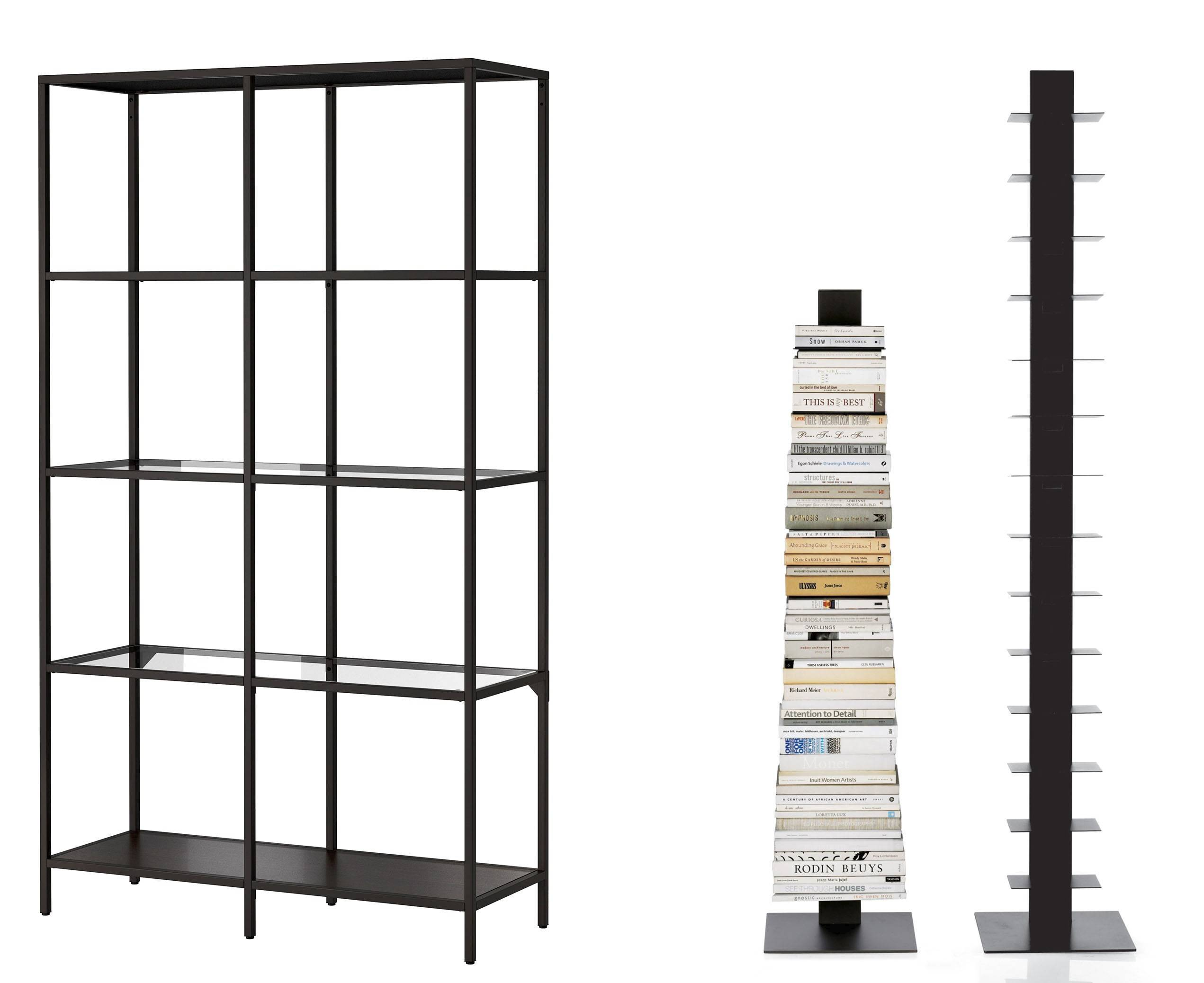 For book lovers on a budget, IKEA's Viitsjo is a hit among decorating bloggers (left); Sapien bookcases by Bruno Rainaldi, which hold books vertically, are especially good for corners.